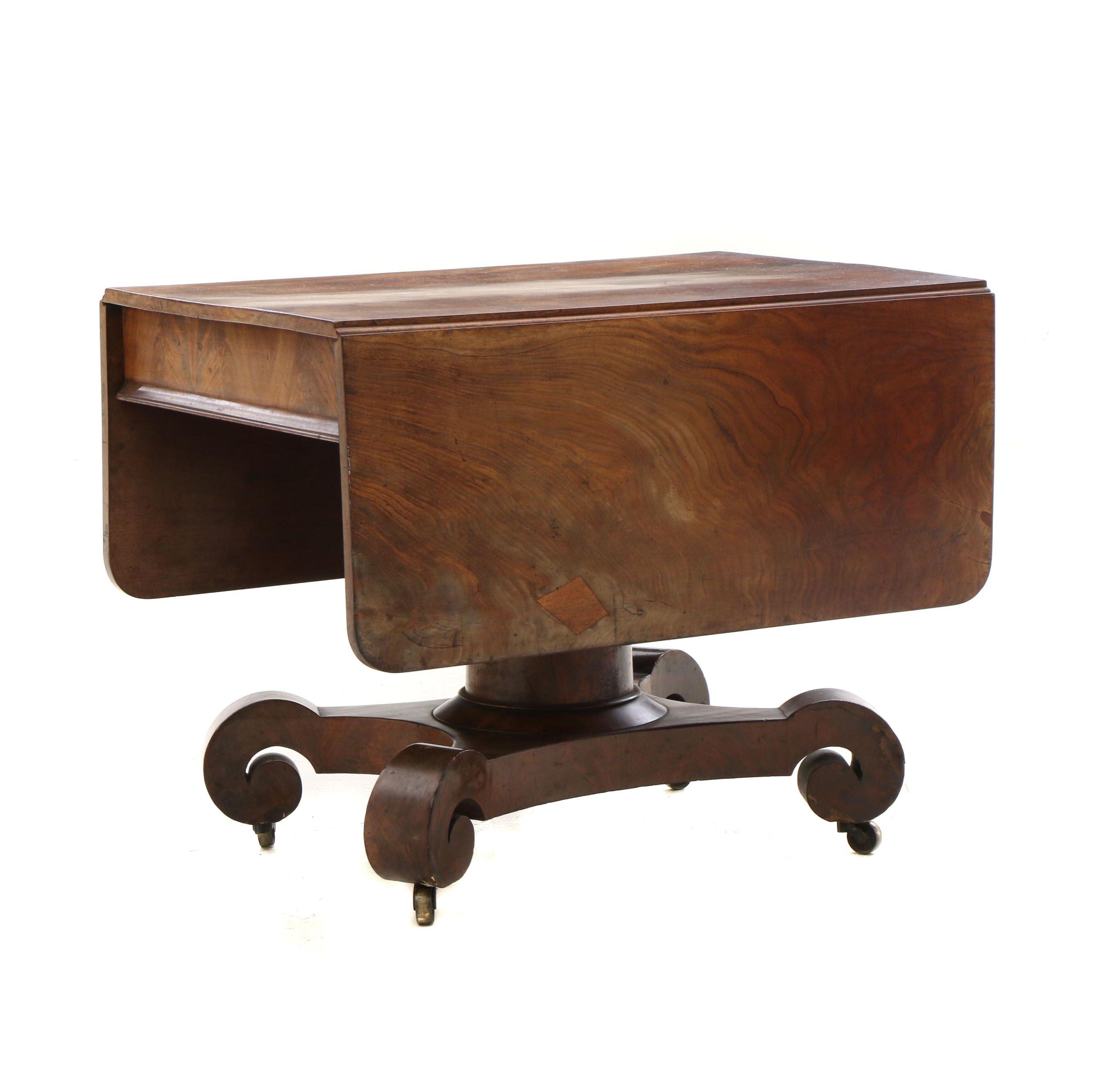 19th Century American Empire Style Drop Leaf Mahogany Table