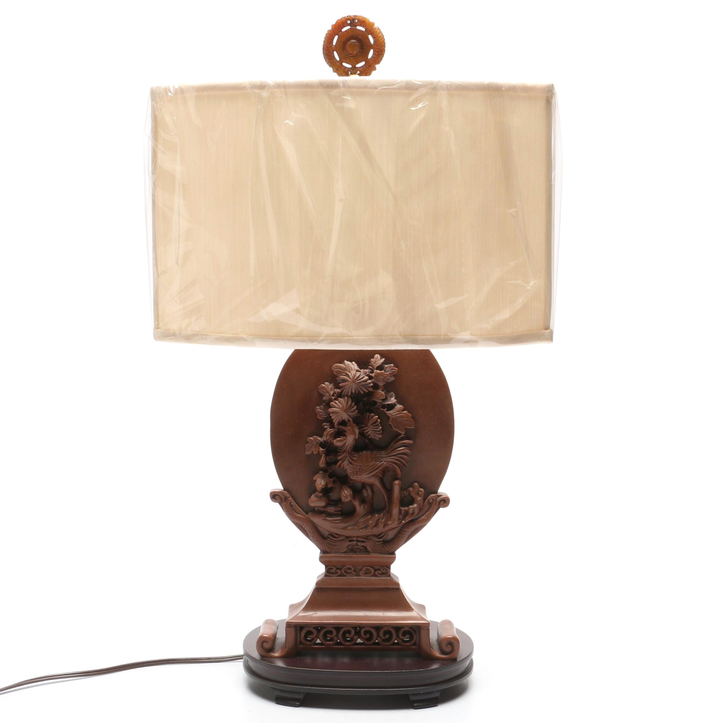 Carved Soapstone Table Lamp