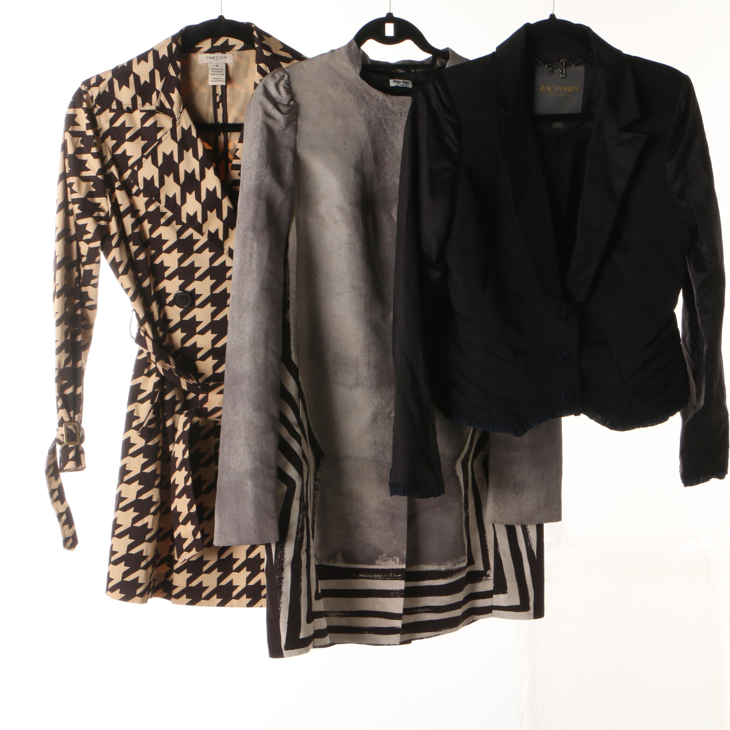 Women's Miu Miu, Vertigo Paris and Zac Posen Coats and Jacket
