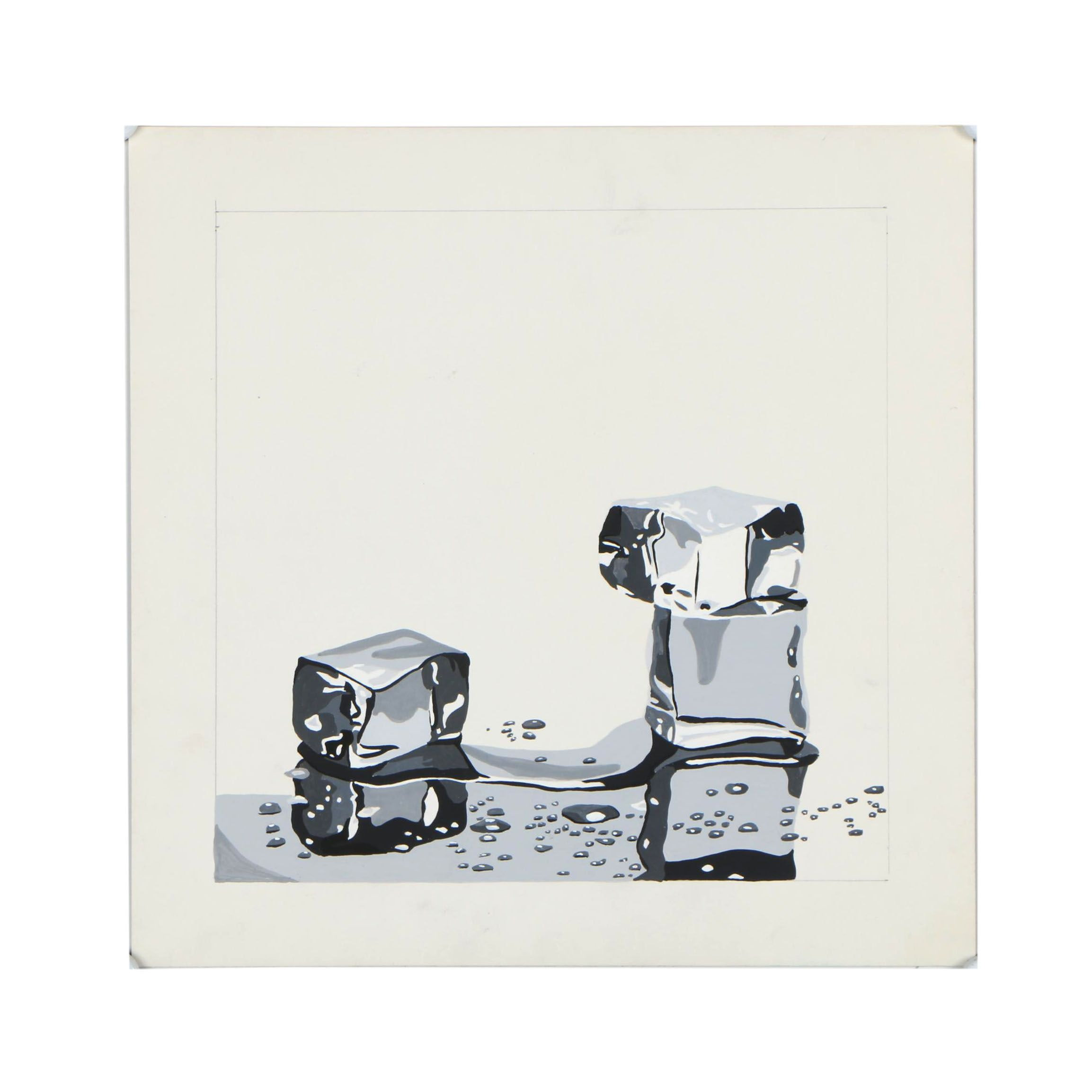 Gouache Abstract Painting of Ice Cubes