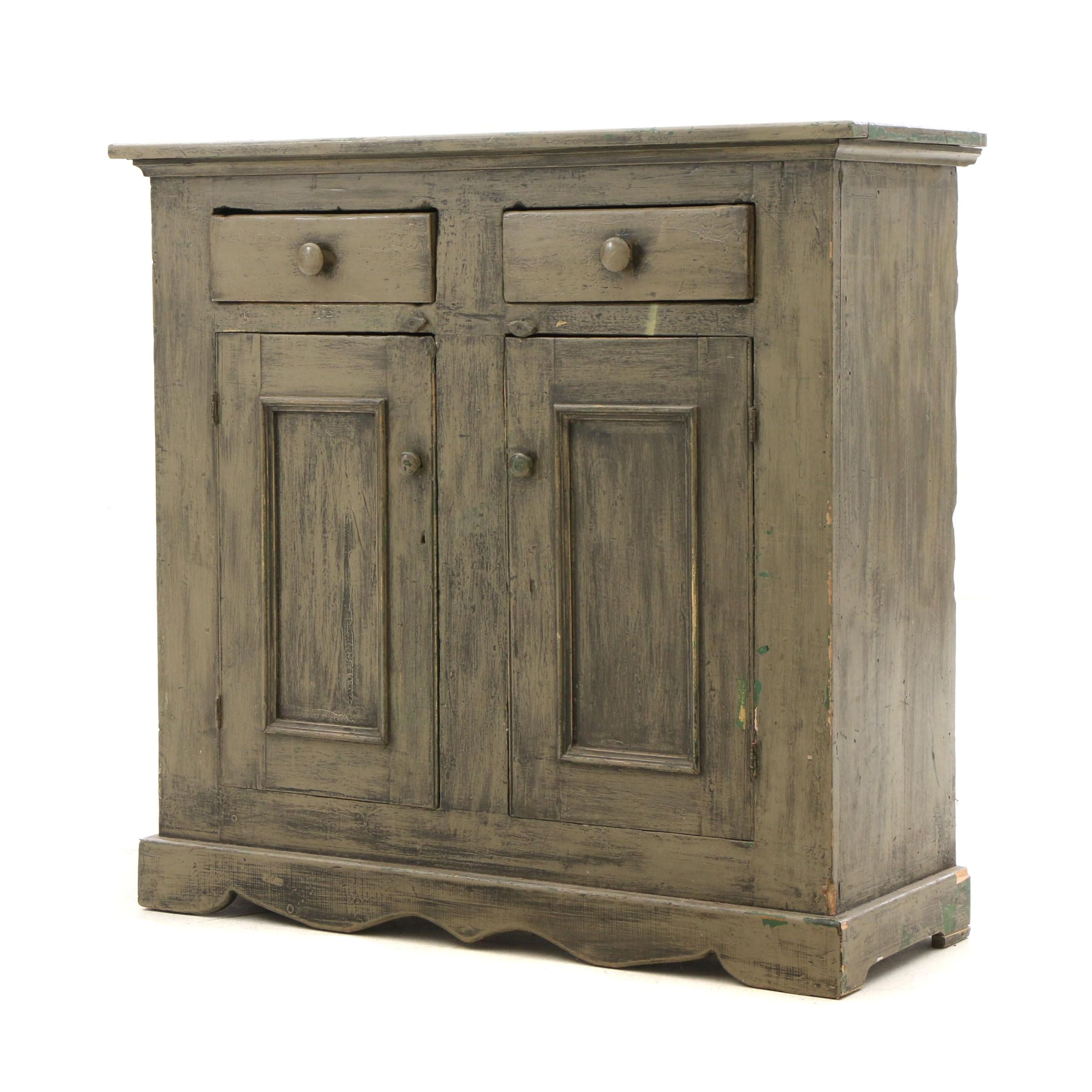 Antique Storage Cabinet with Green Painted Finish