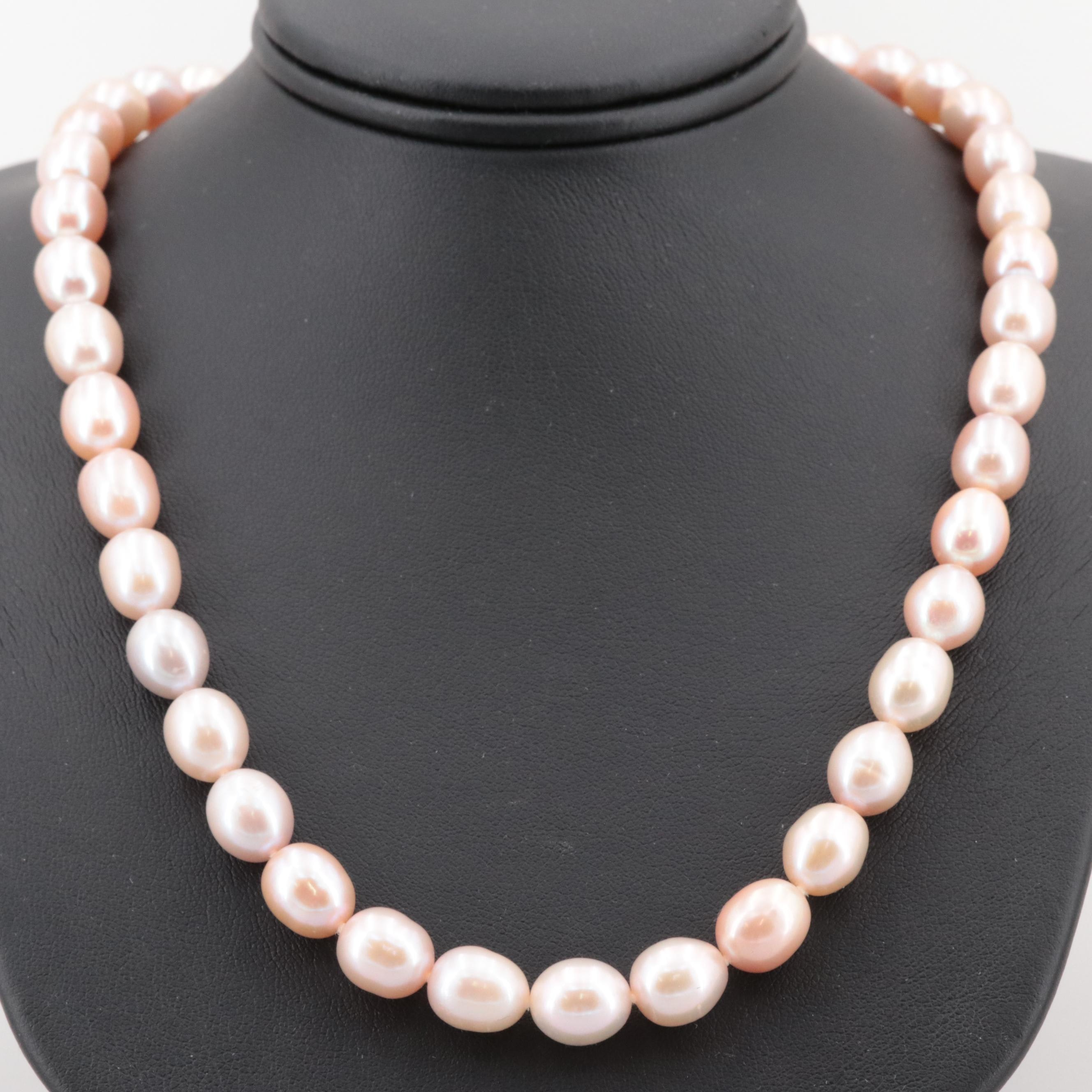 14K Yellow Gold Cultured Pearl Hand-Knotted Necklace