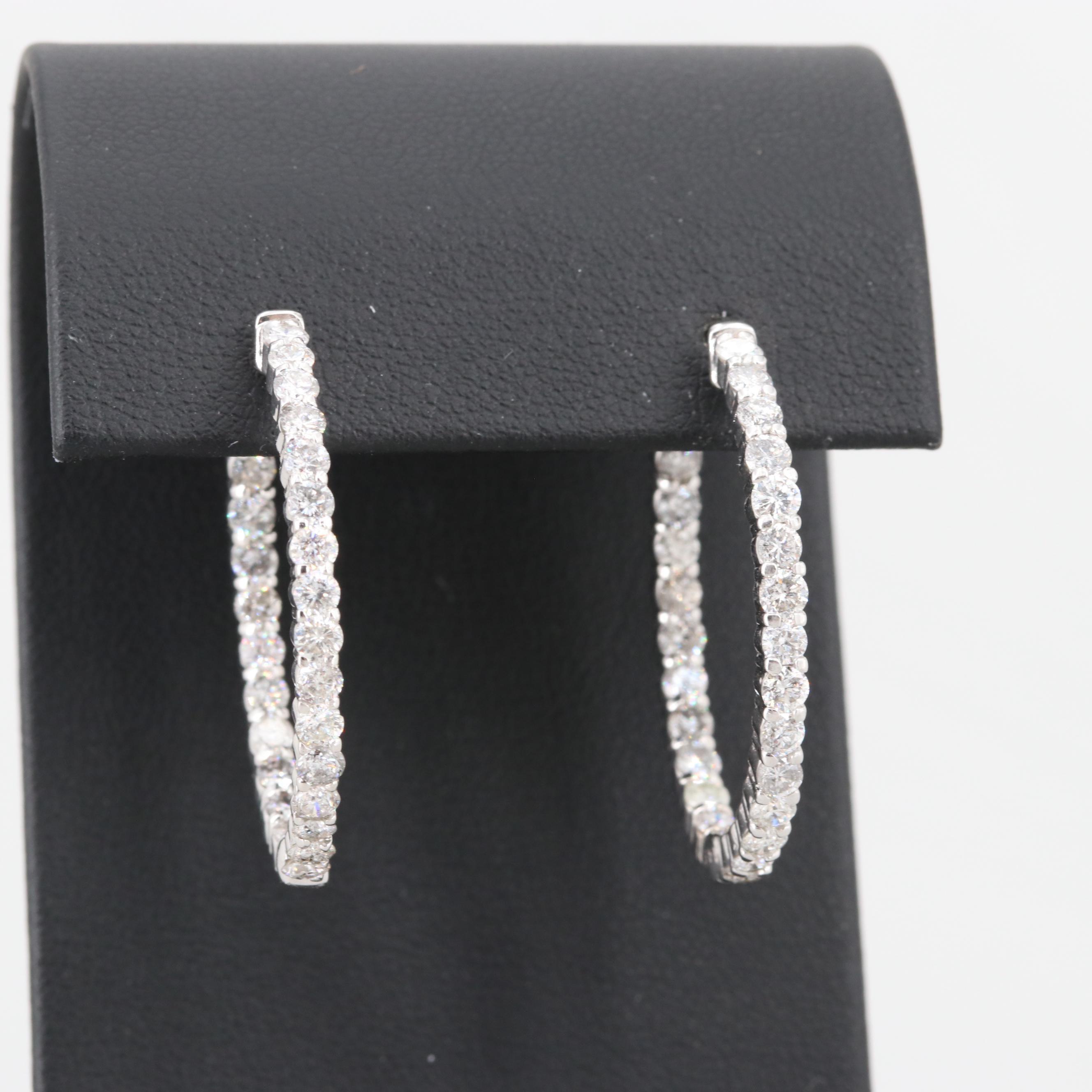 14K White Gold 3.00 CTW Diamond Inside-Out Hoop Earrings