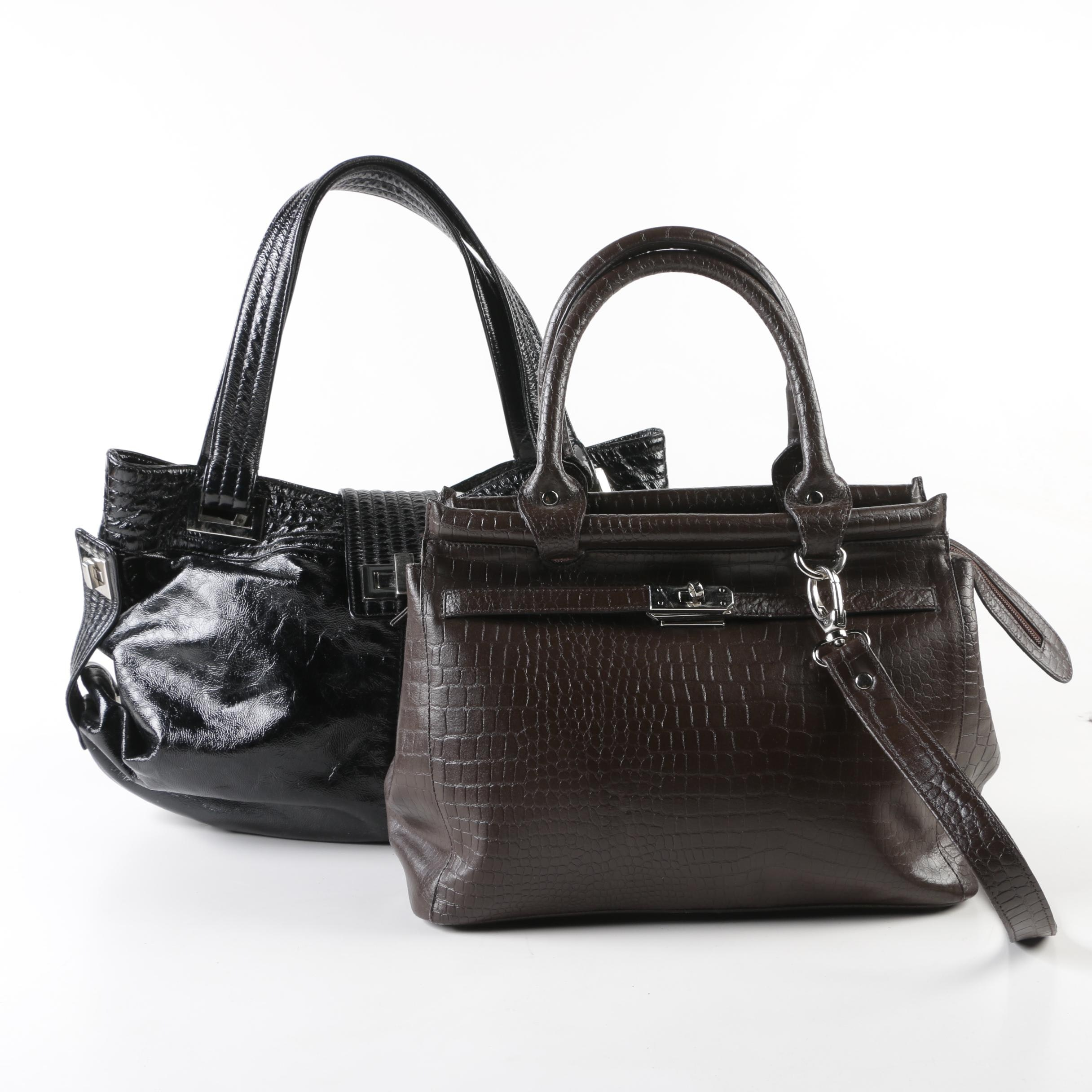 Muska Brown Embossed Leather Satchel and Kooba Black Patent Leather Shoulder Bag