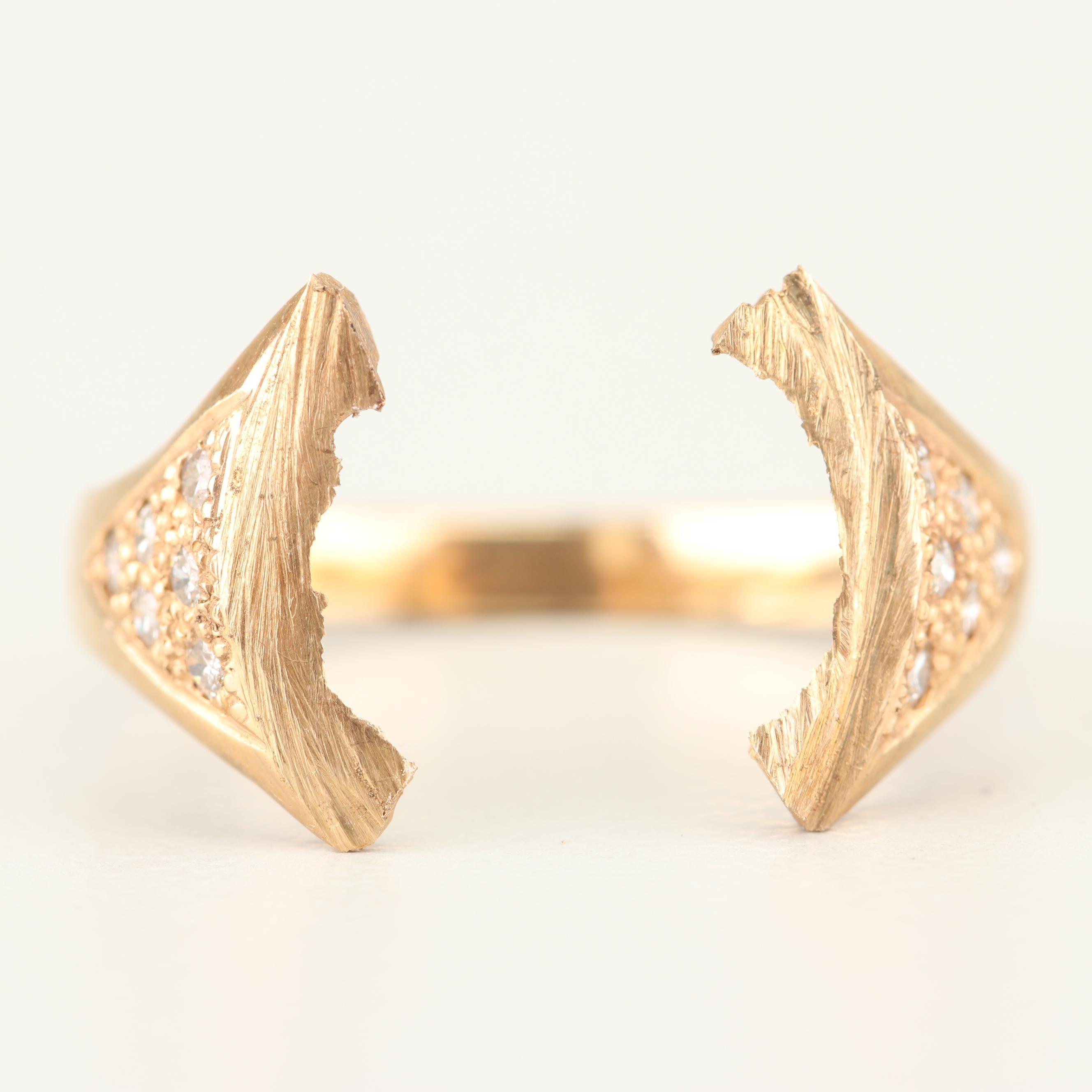 14K Yellow Gold and Diamond Semi-Mount