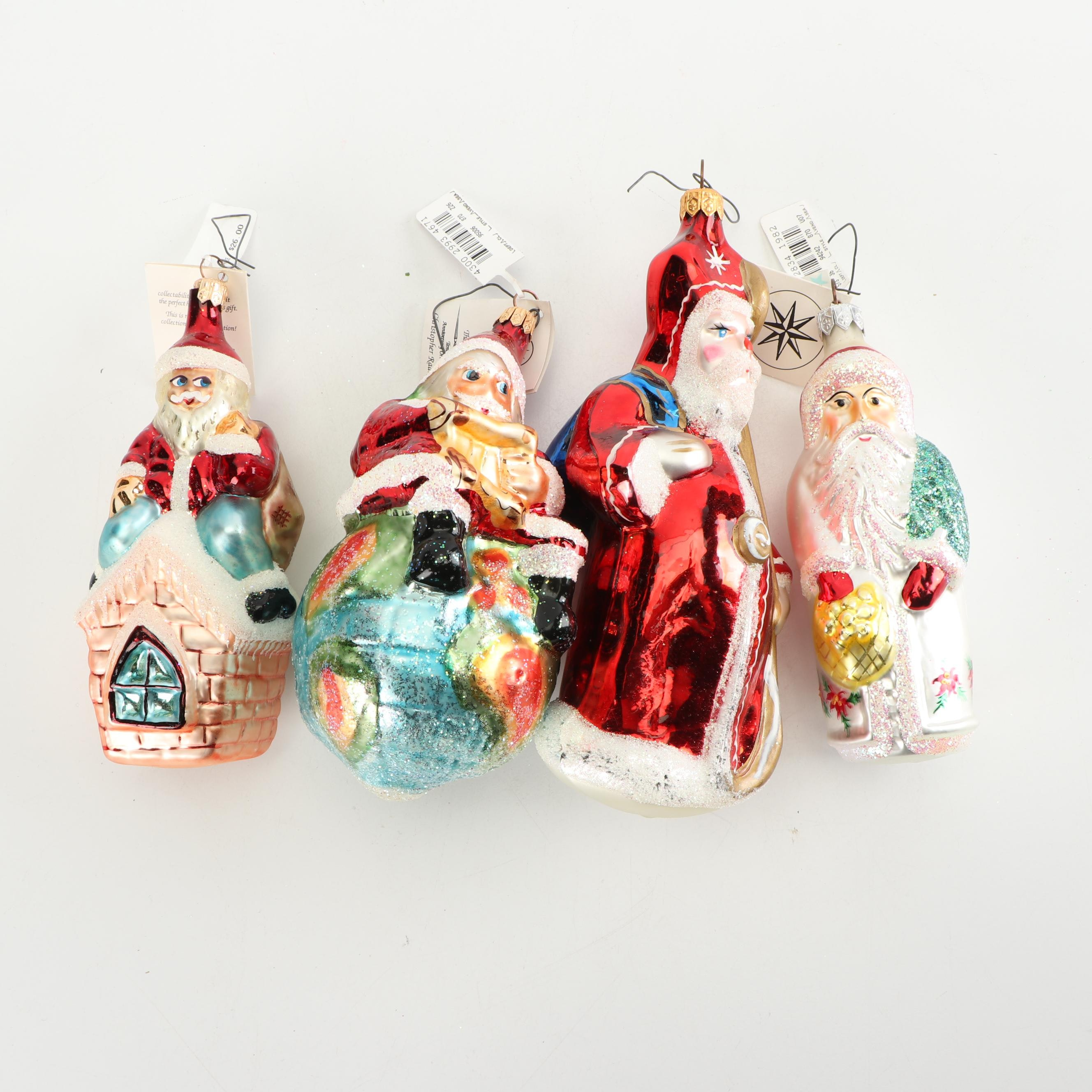 Christopher Radko Santa Claus Glass Ornaments