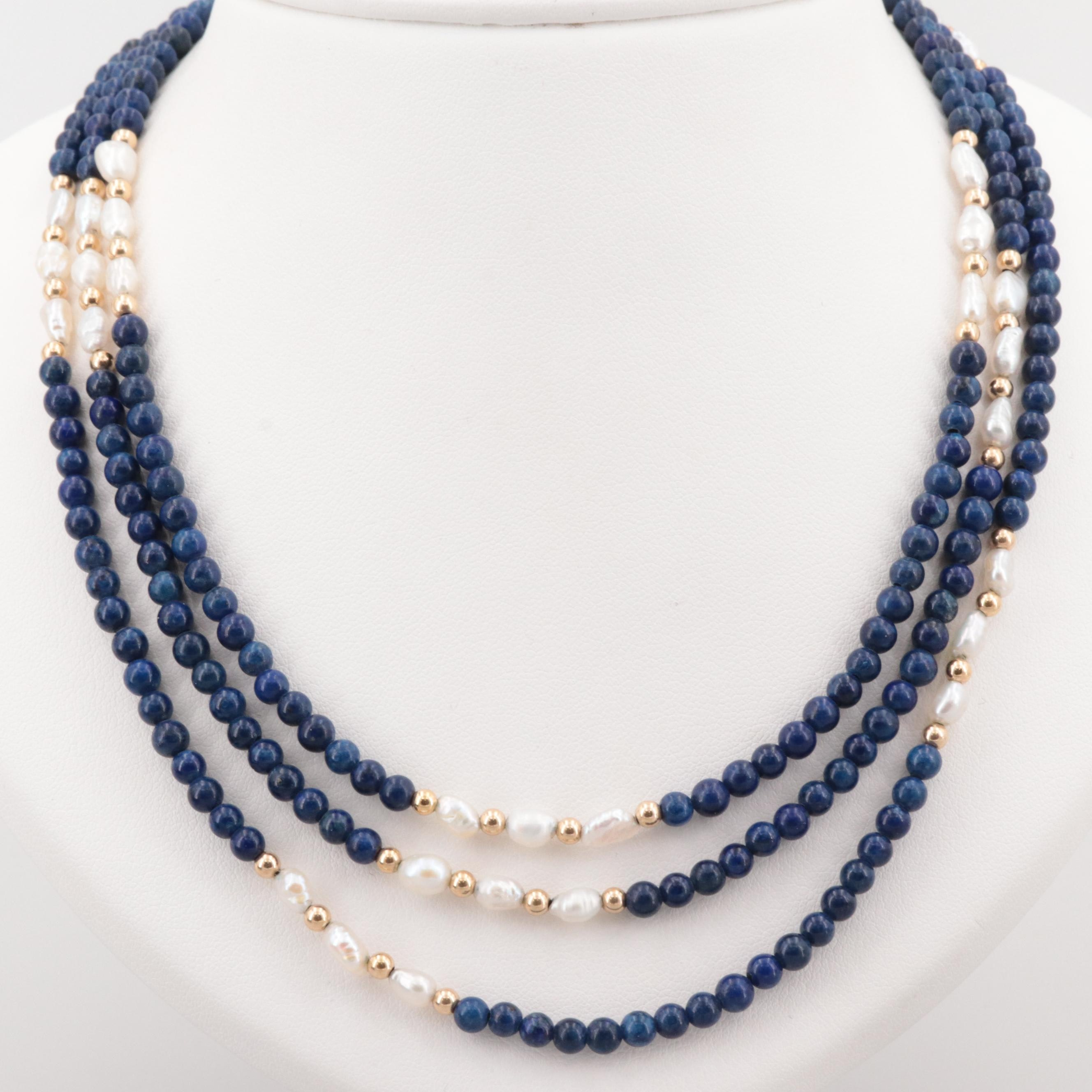 14K Yellow Gold Lapis Lazuli and Cultured Pearl Three Strand Necklace