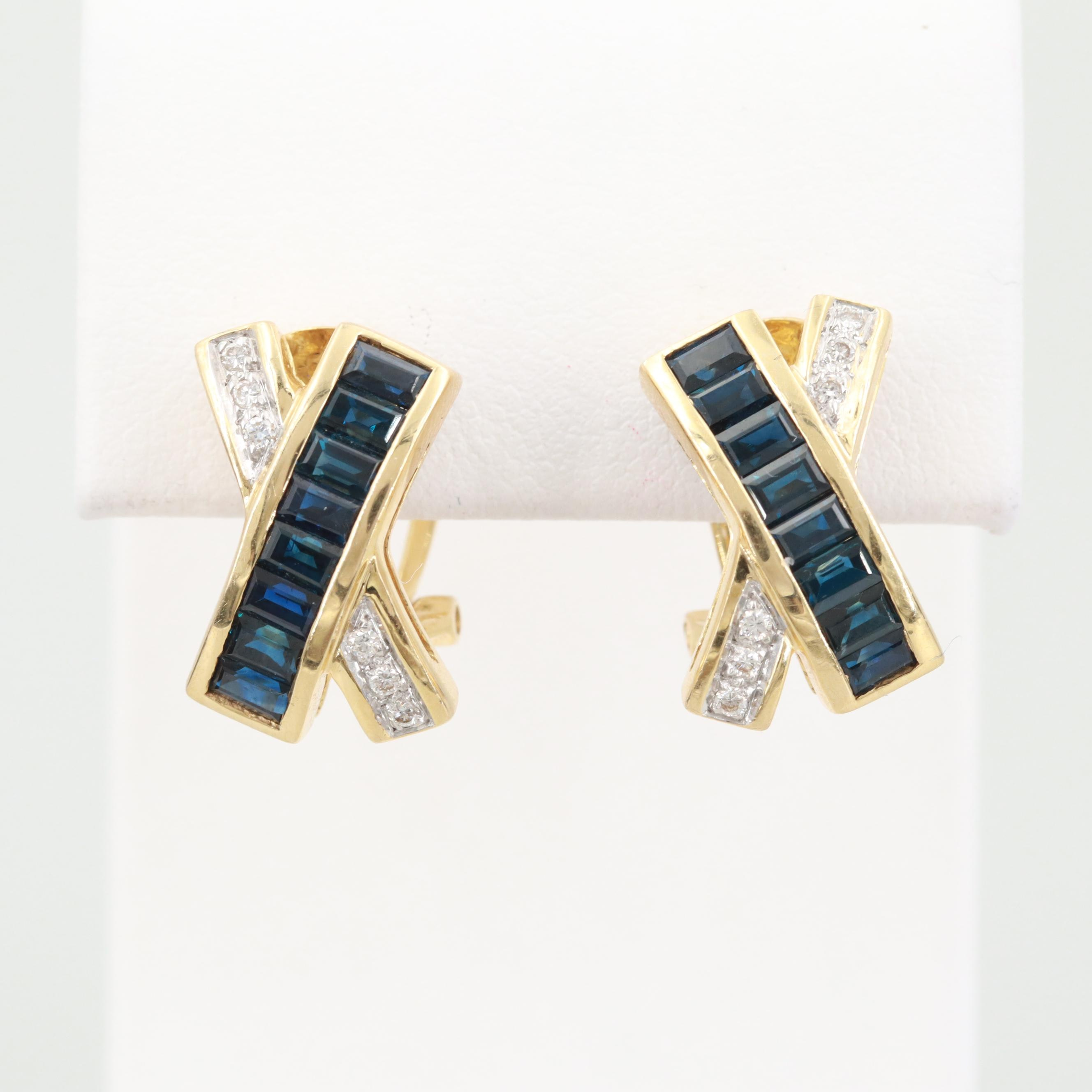 Le Vian 18K Yellow Gold Sapphire and Diamond Earrings