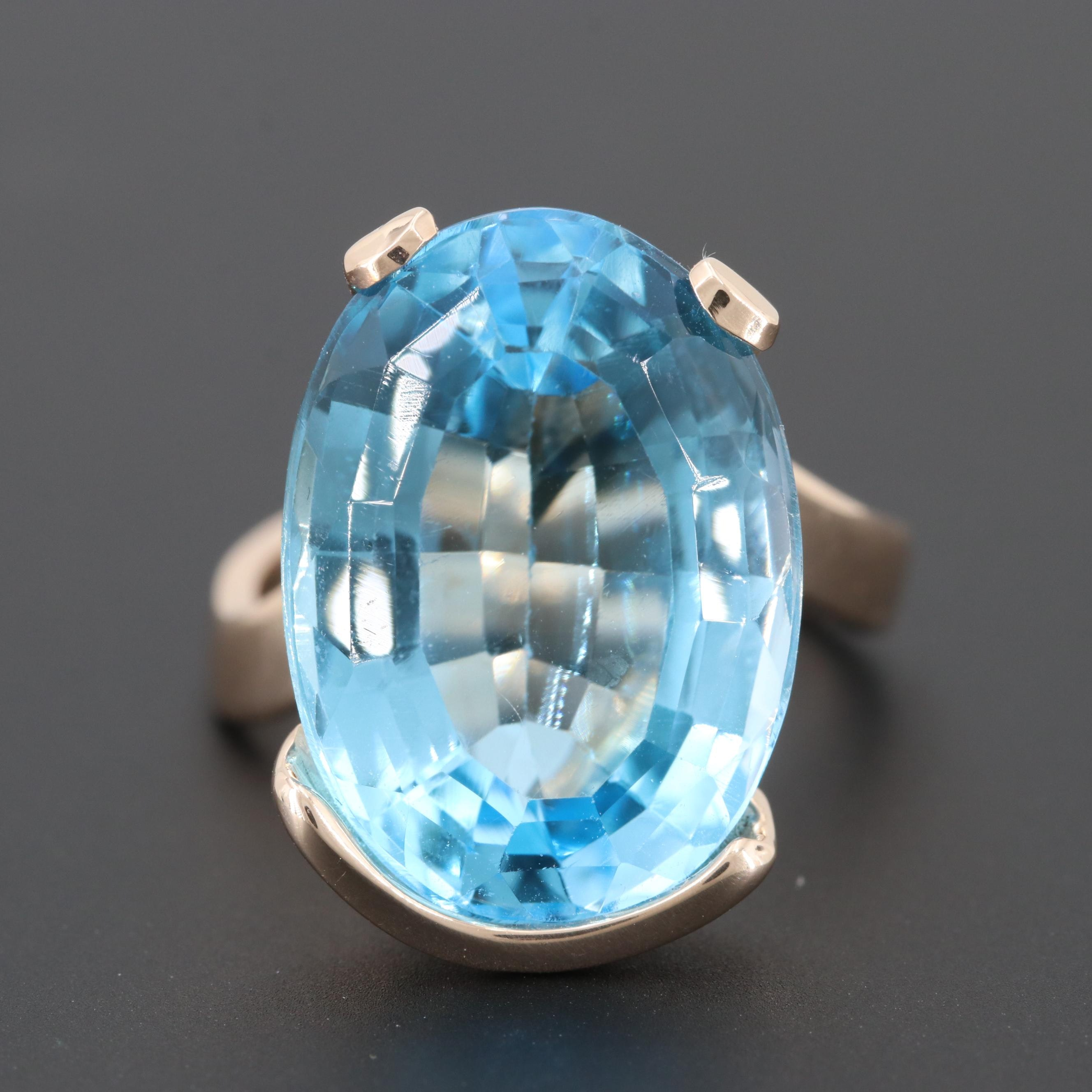 10K Yellow Gold 14.78 CTW Blue Topaz Ring