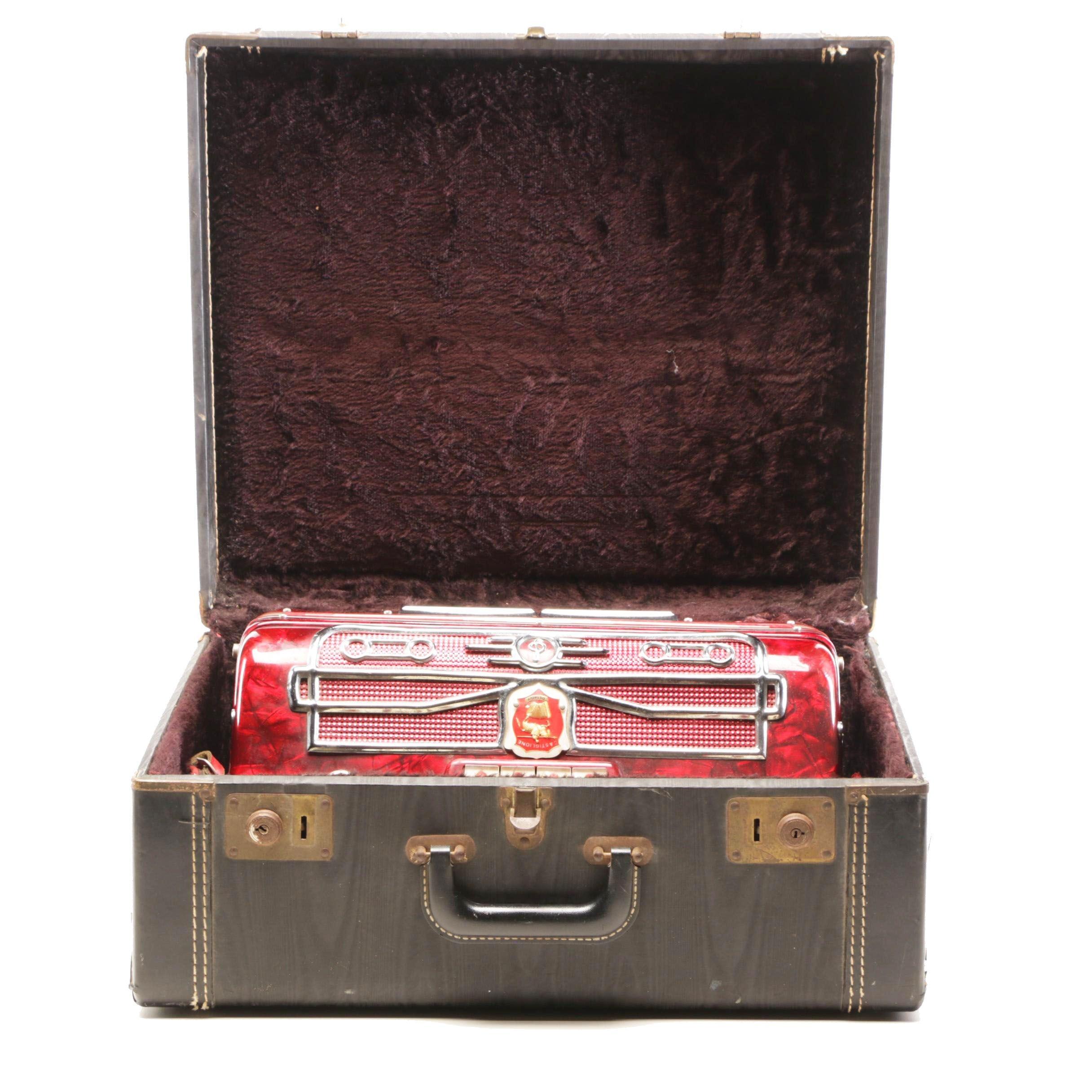 """Vintage Castiglione """"Red Series 408"""" Piano Accordion"""