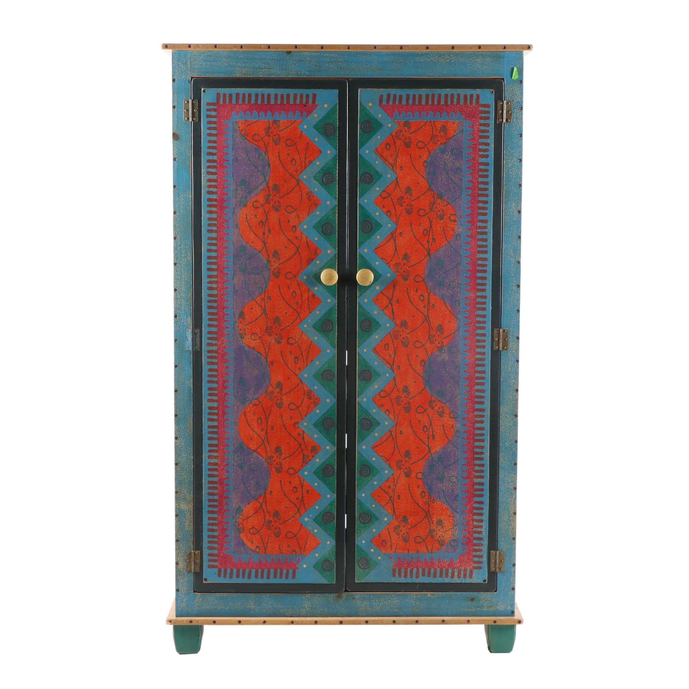 Hand-Painted Wood Armoire by Shoestring Creations, 21st Century