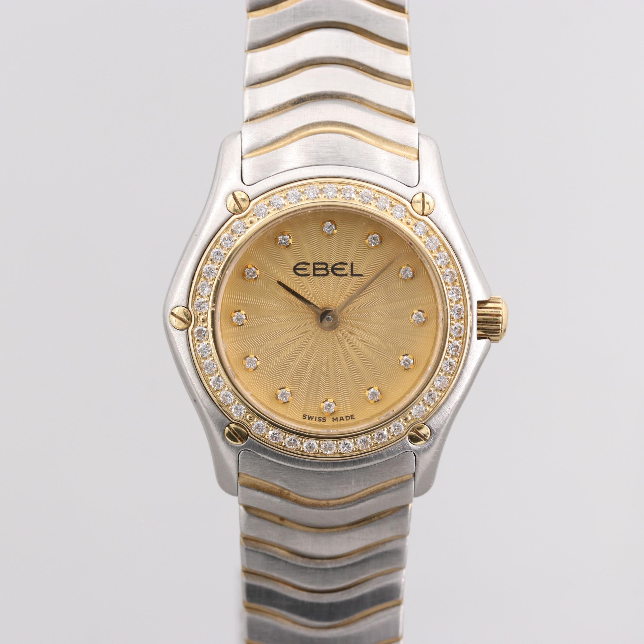 Ebel Stainless Steel and 18K Yellow Gold With Diamond Bezel and Hour Markers