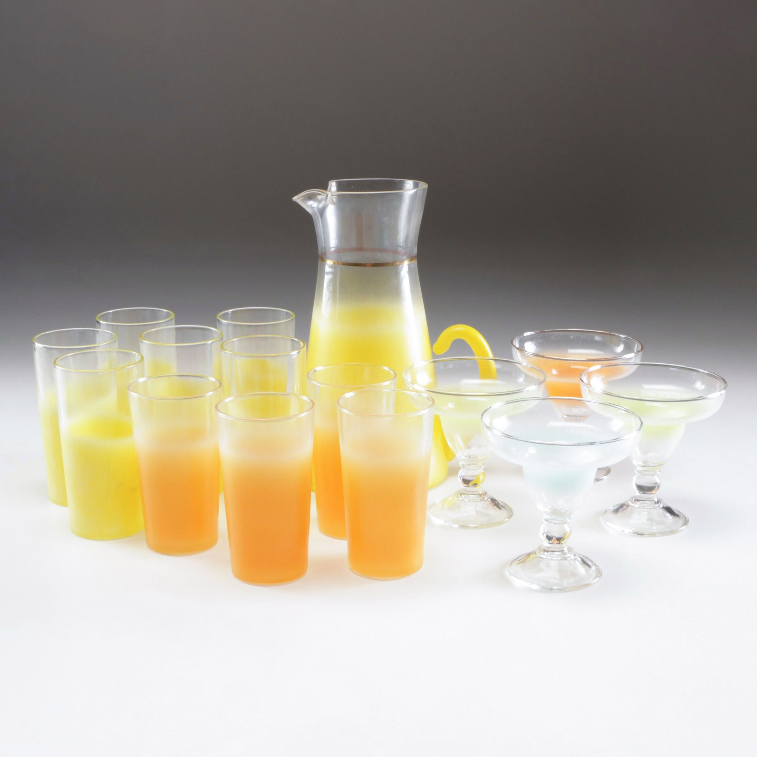Blendo Glass Pitcher and Cocktail Glasses, Mid-Century