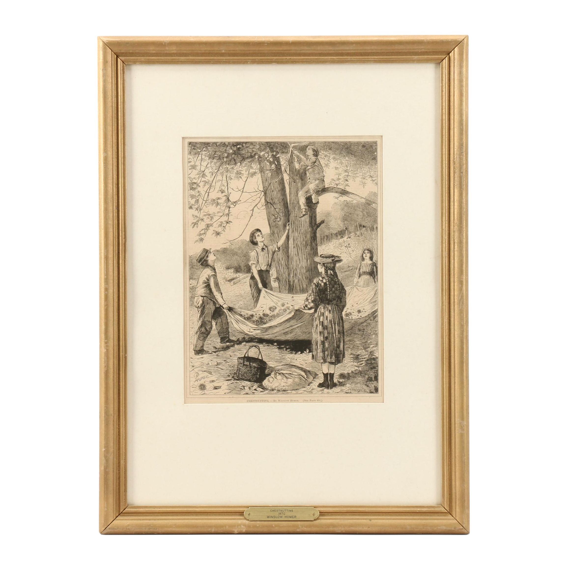 "Late 19th Century Wood Engraving after Winslow Homer ""Chestnutting"""