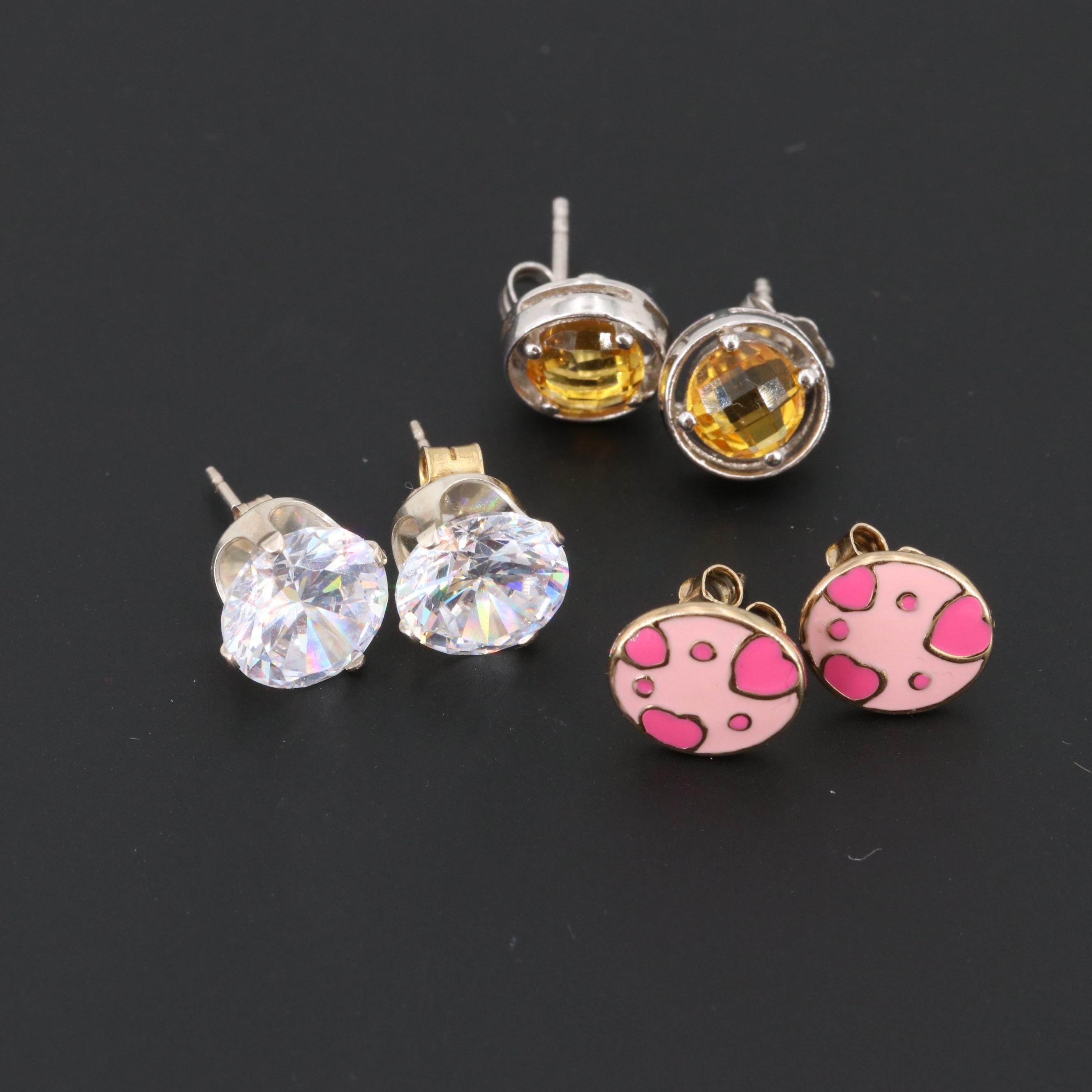 Sterling Silver Citrine, Cubic Zirconia and Enamel Earrings Including Gold Wash