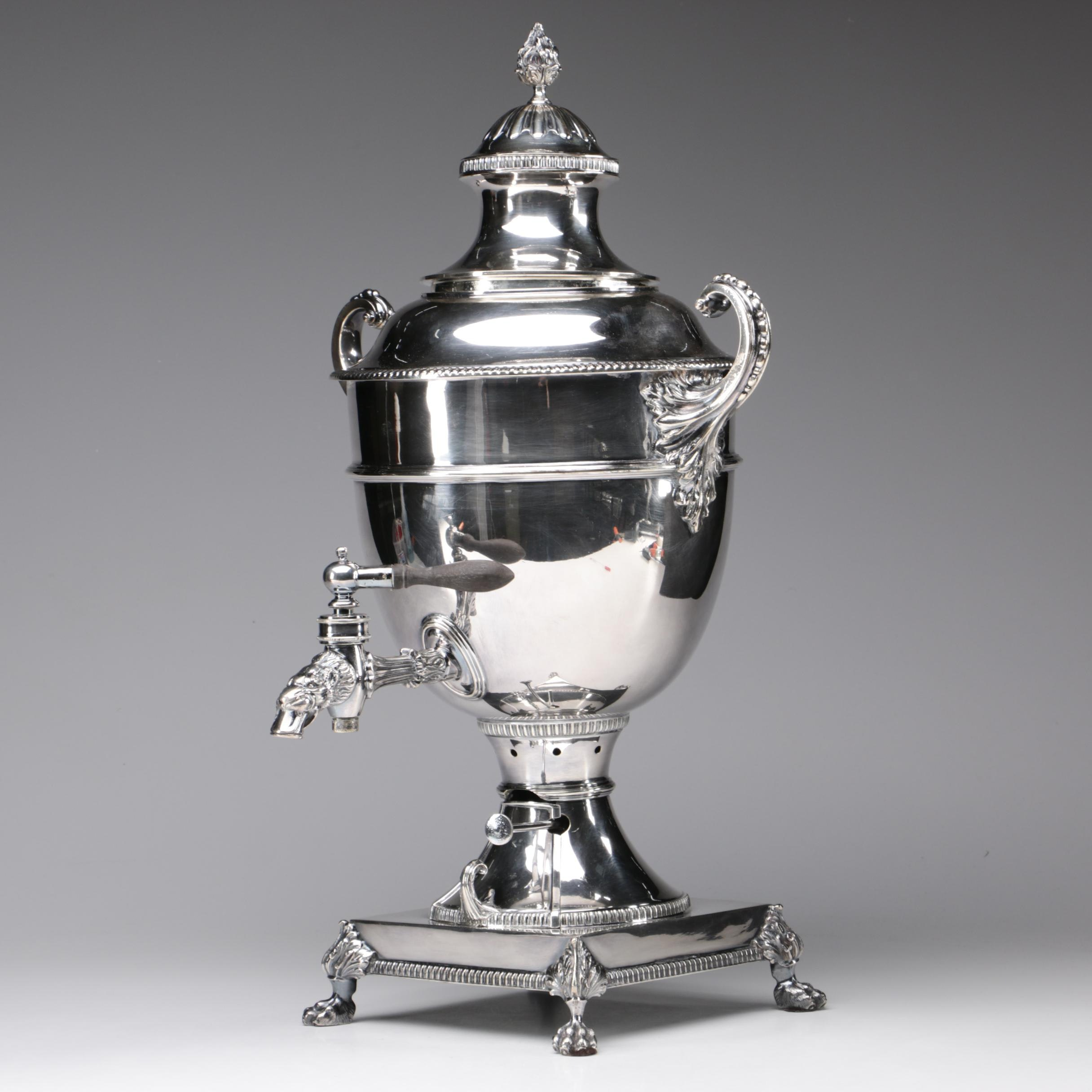 Harrods of London Silver Plate Samovar with Lion Spout, Early 20th Century