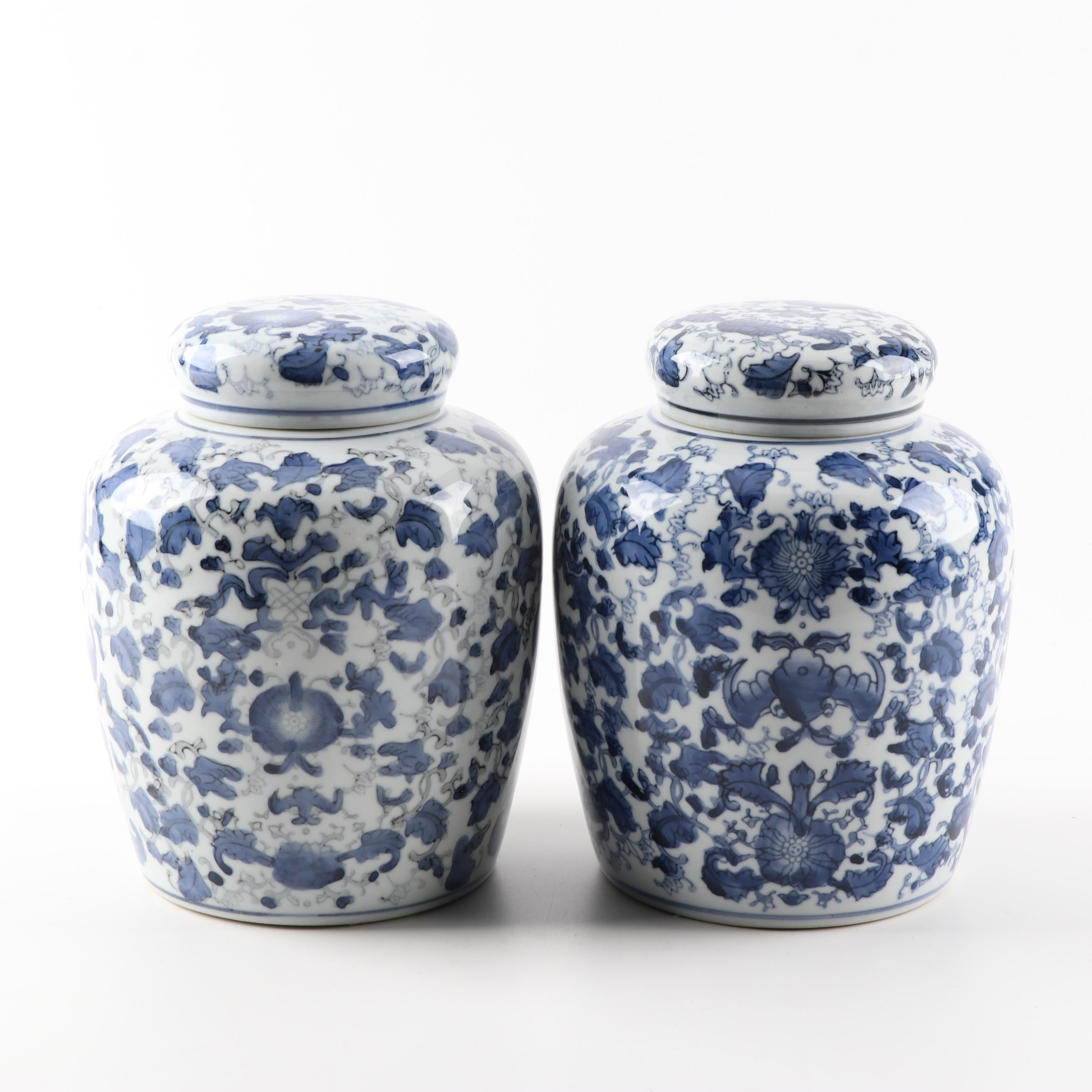 Chinese Blue and White Ceramic Lidded Ginger Jars