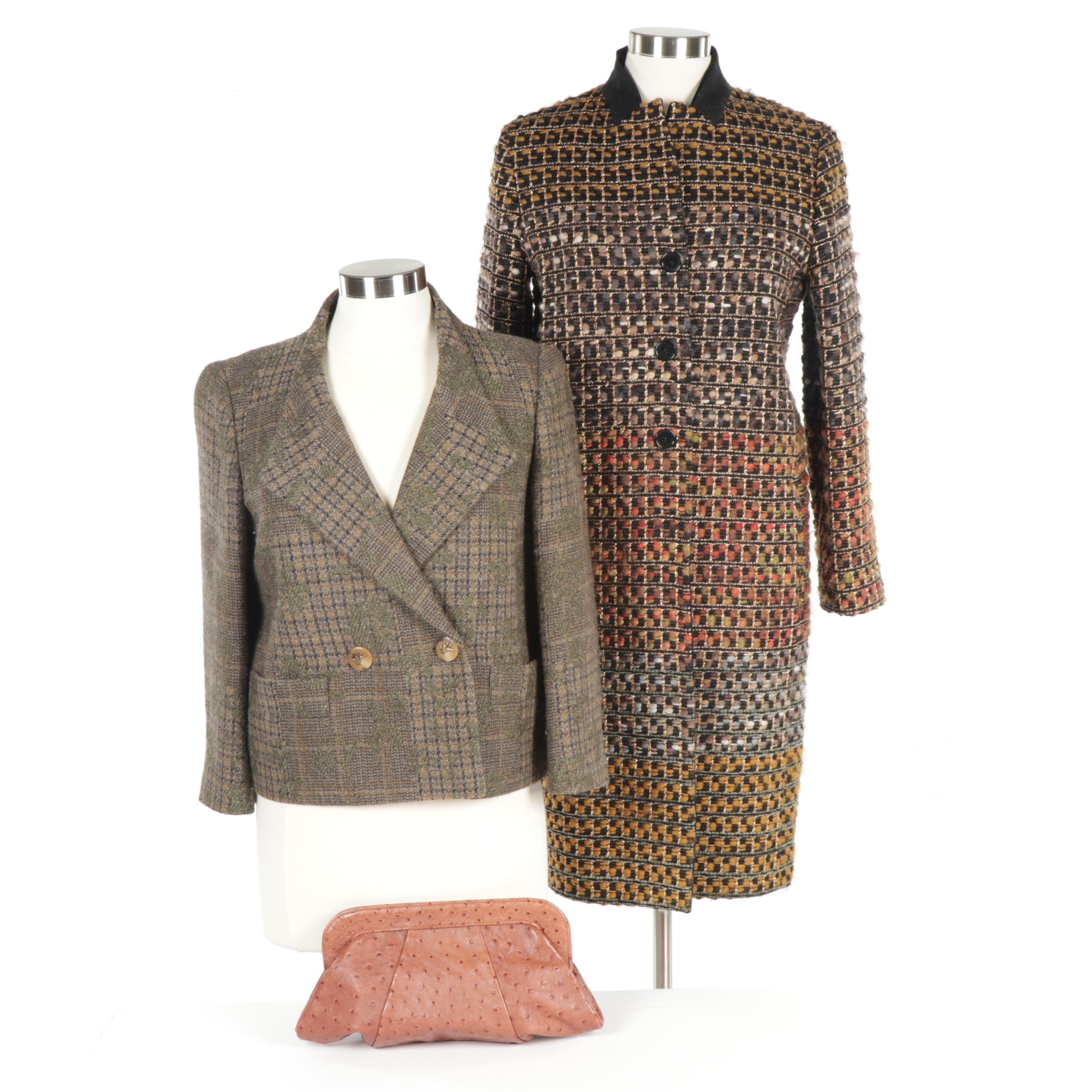 Women's Etro Wool Outerwear, Made in Italy and Lauren Merkin Ostrich Skin Clutch