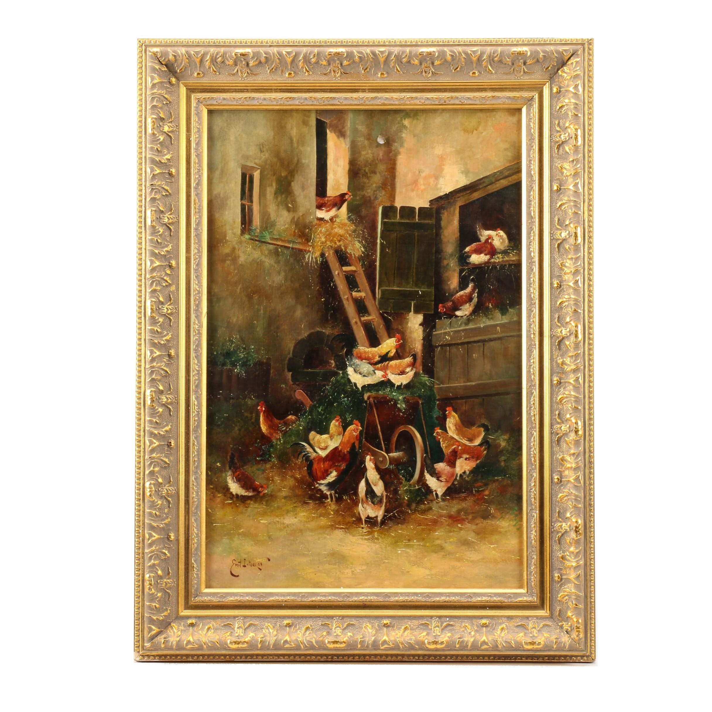 Emil Istourien Oil Painting of Chickens