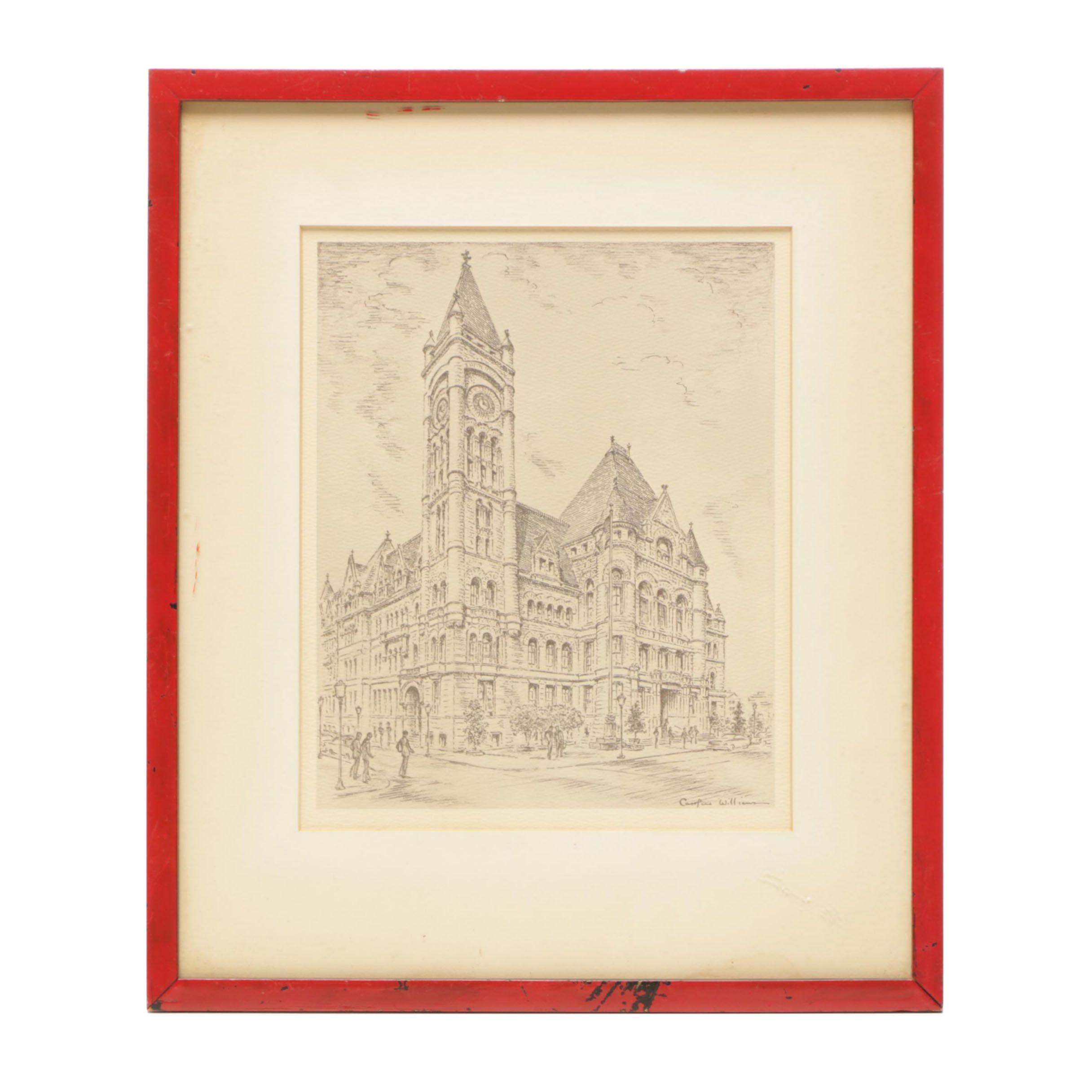 "Offset Lithograph after Caroline Williams Cincinnati ""City Hall"""