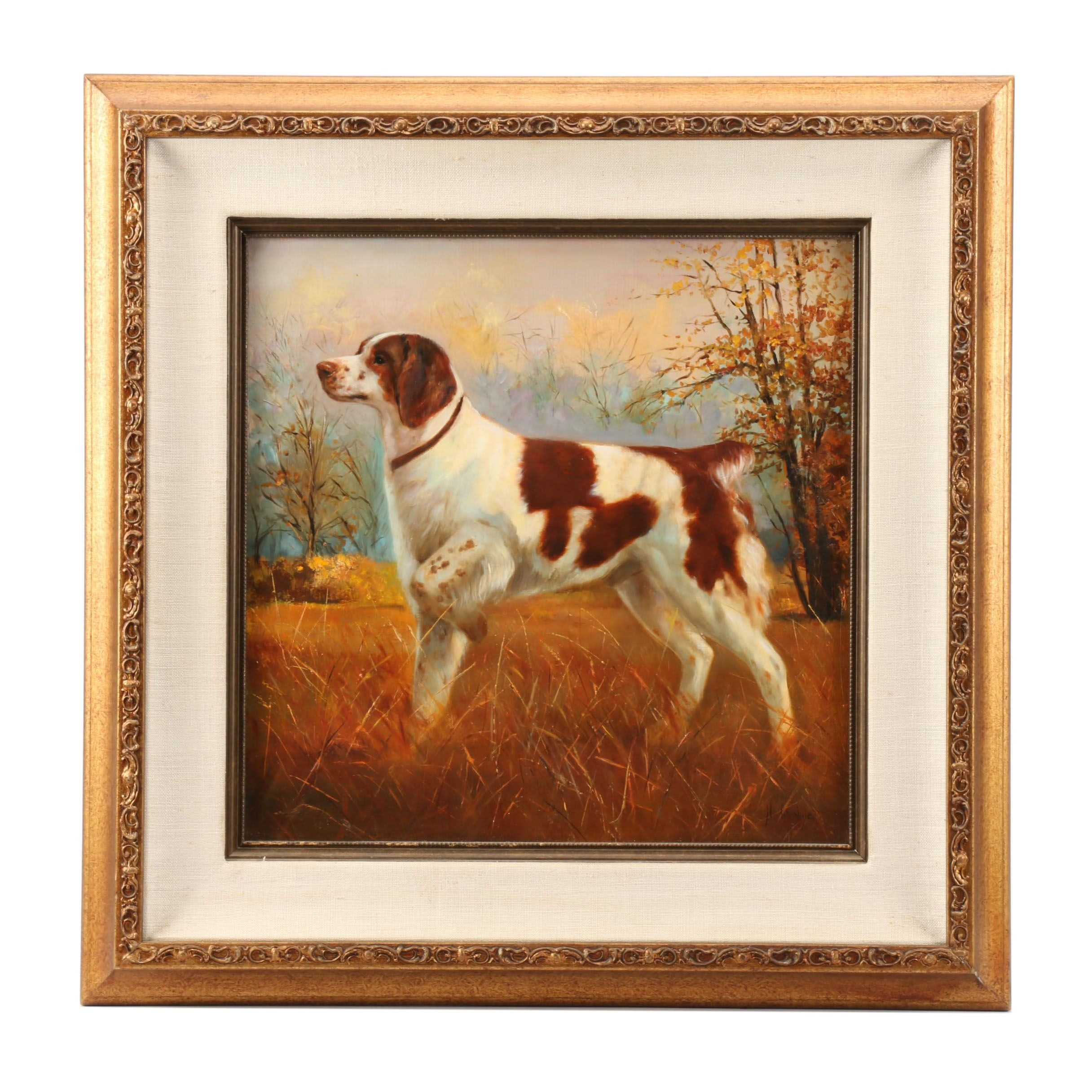 N. Carlyle Oil Painting of a Hunting Dog