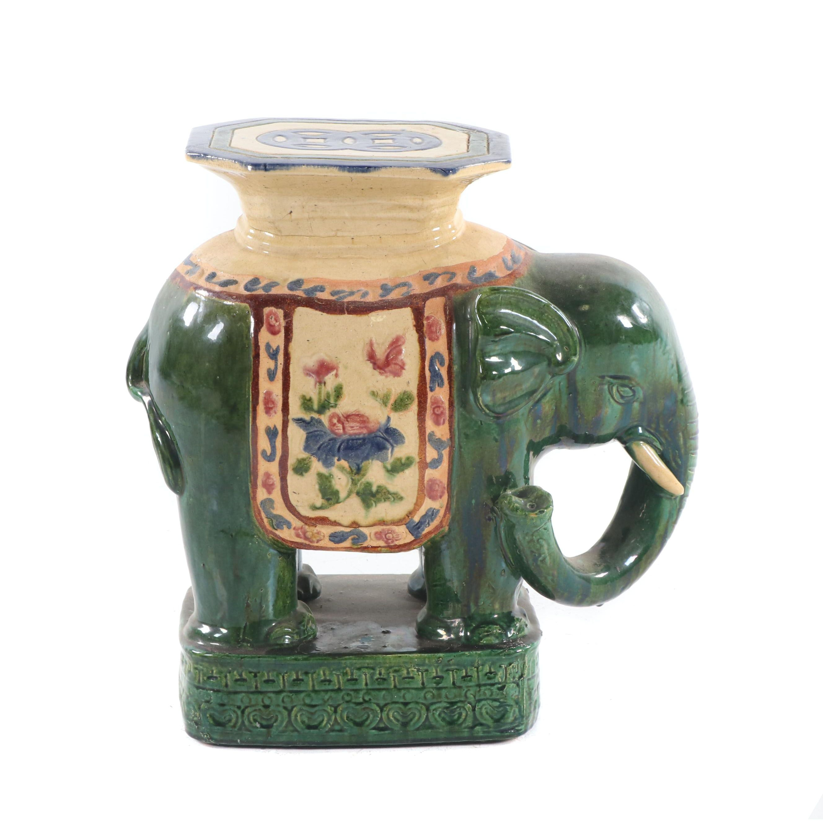 Chinese Painted Ceramic Elephant Garden Stool, Mid-Century