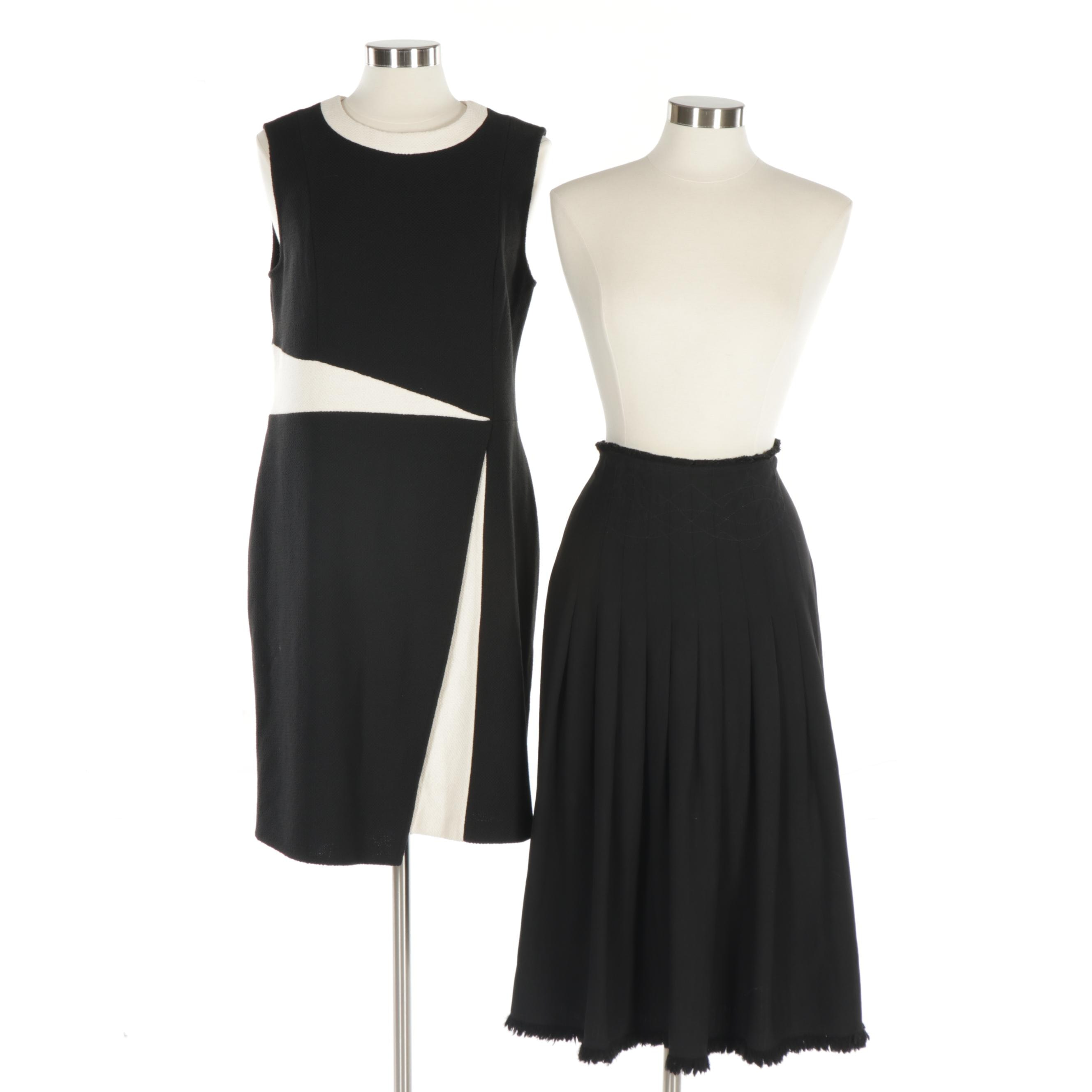 Women's St. John Sleeveless Knit Dress and Max Mara Weekend Black Pleated Skirt