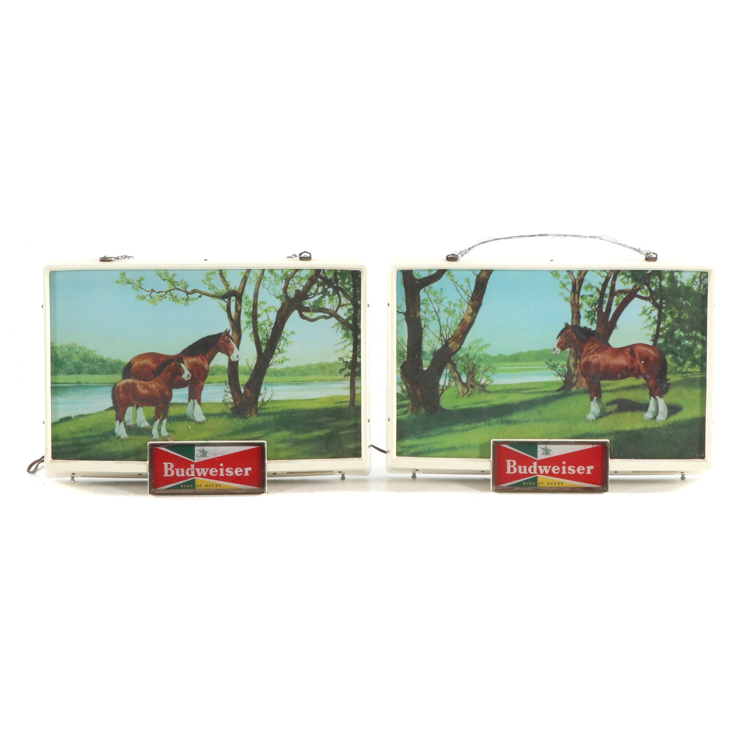 "Anheuser-Busch ""Budweiser"" Clydesdale Illuminated Advertising Signs"