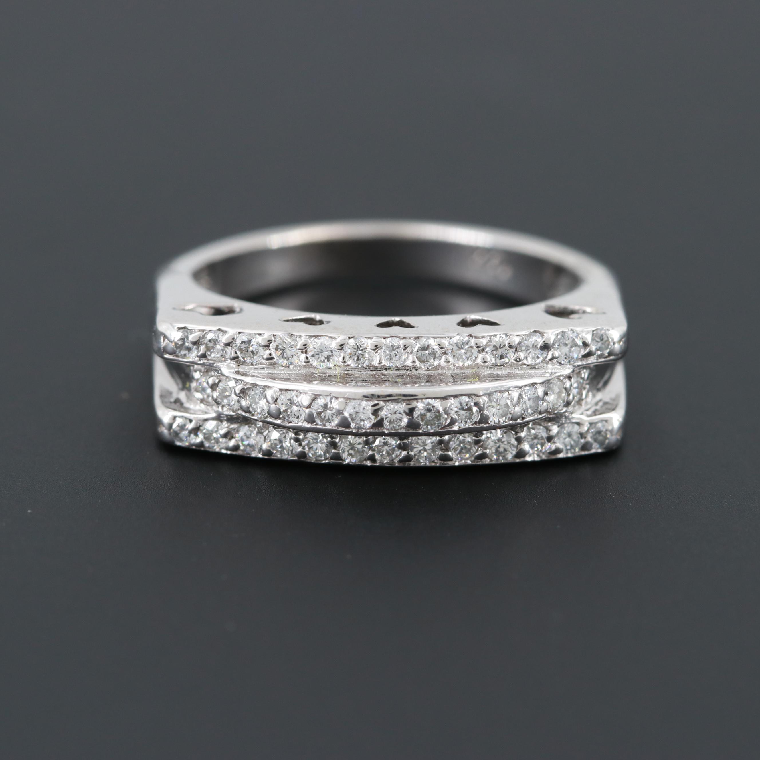14K White Gold Diamond Ring with Heart Detail