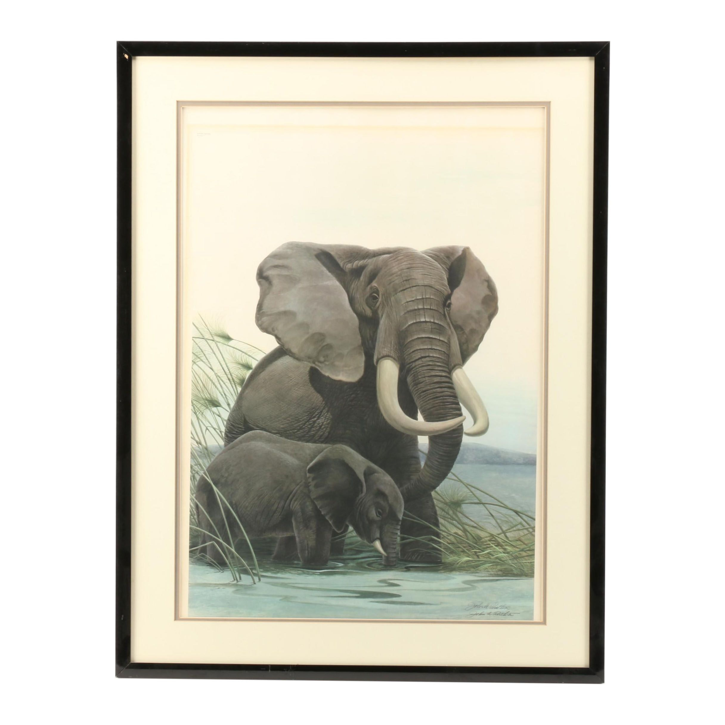 "John Ruthven Limited Edition Offset Lithograph ""African Elephants"""