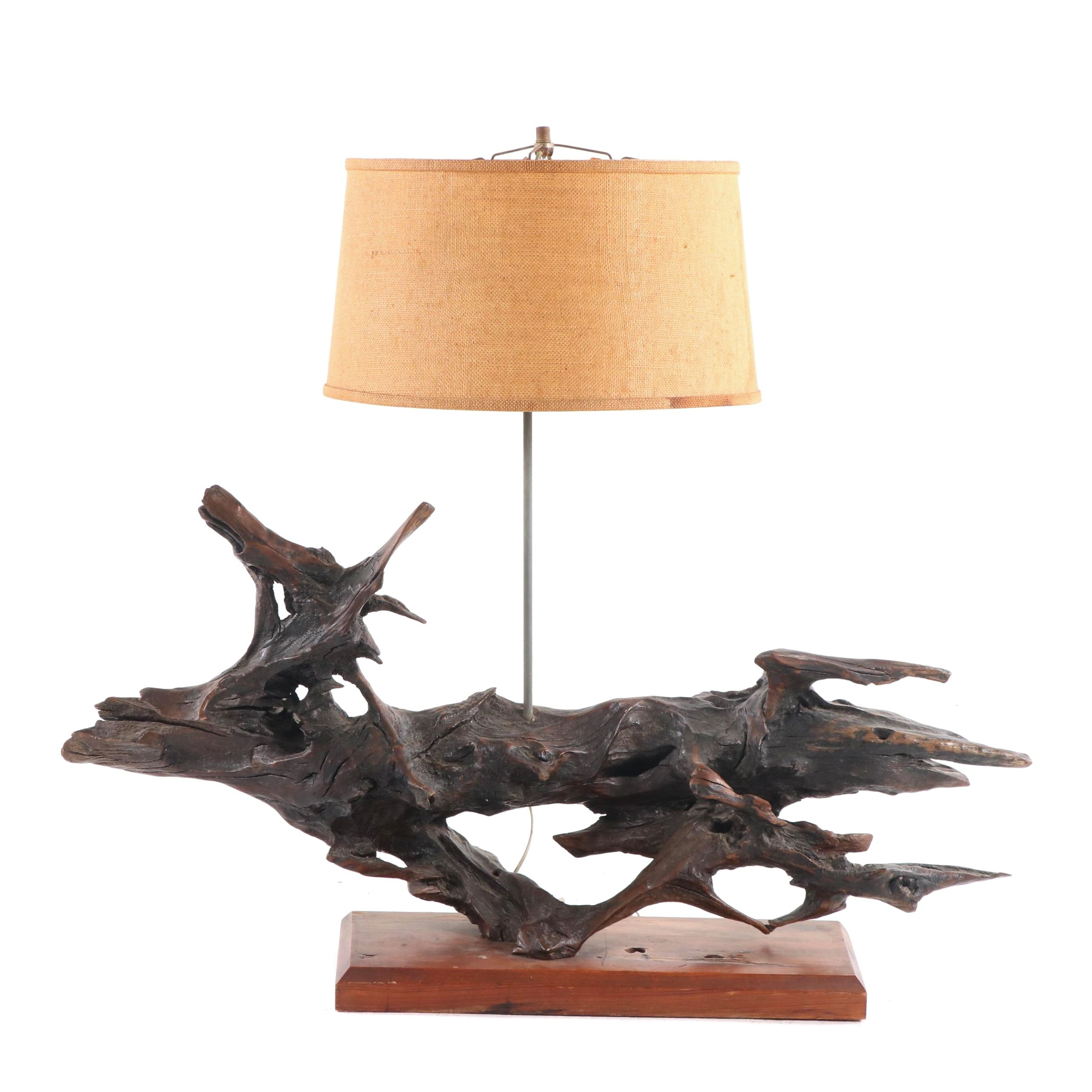 Mounted Driftwood Table Lamp with Shade, Mid to Late 20th Century