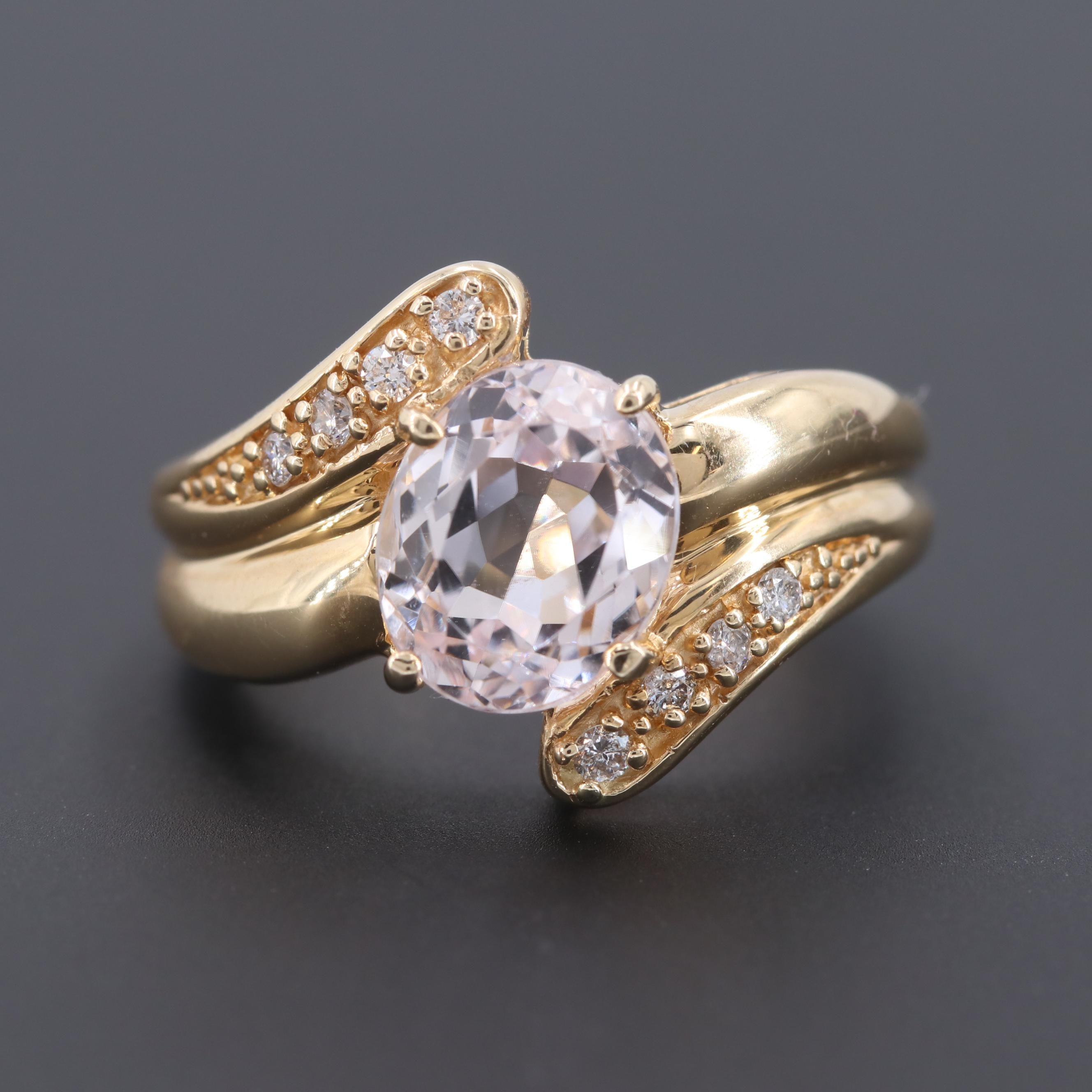 Sonia Bitton 14K Yellow Gold Kunzite and Diamond Ring
