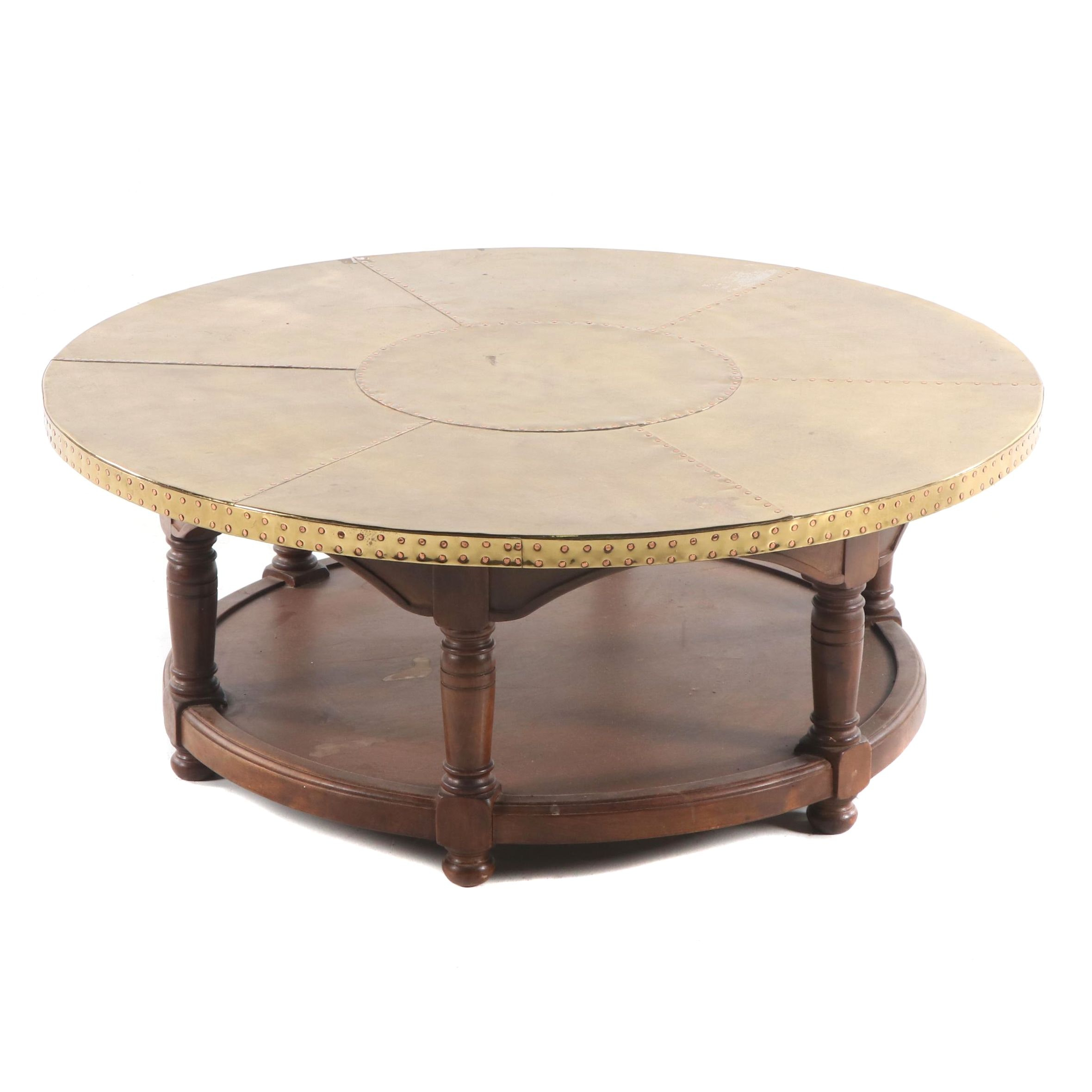 Brass and Mahogany Two-Tier Coffee Table, Late 20th Century