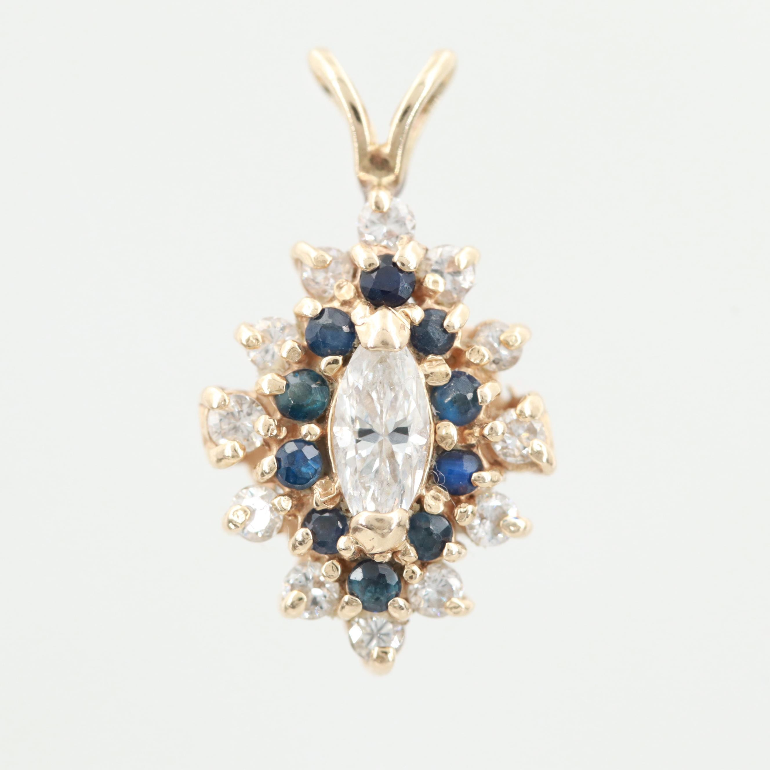 14K Yellow Gold Diamond and Sapphire Pendant