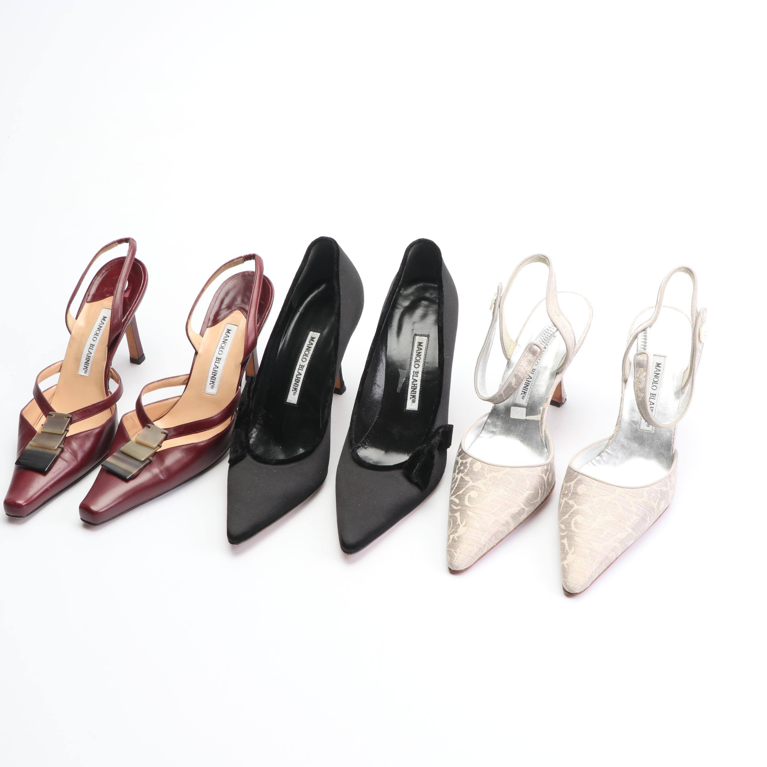 Manolo Blahnik Fabric and Leather High-Heeled Pumps and Slingbacks