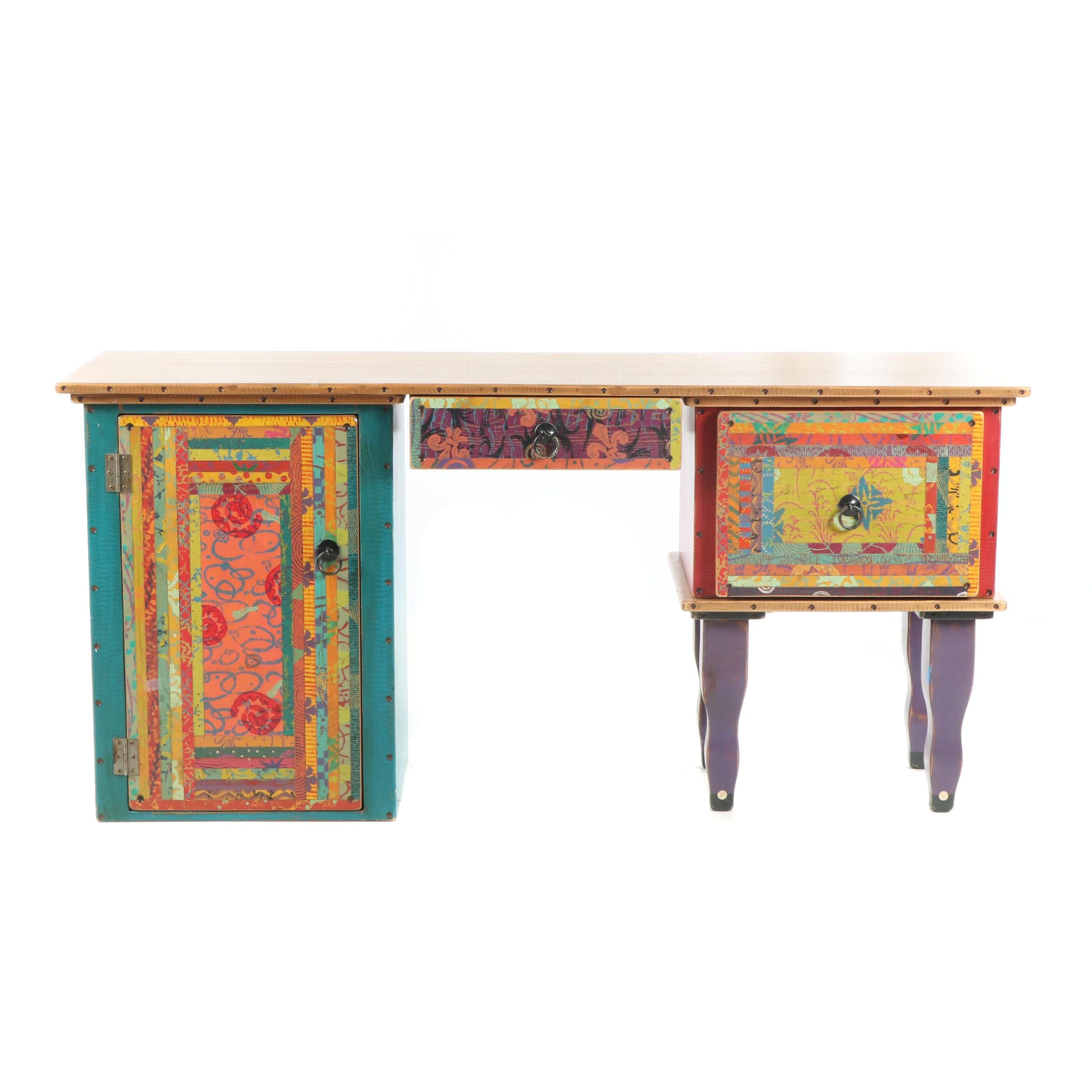 Hand-Painted Wood Three-Piece Desk by Shoestring Creations, 21st Century
