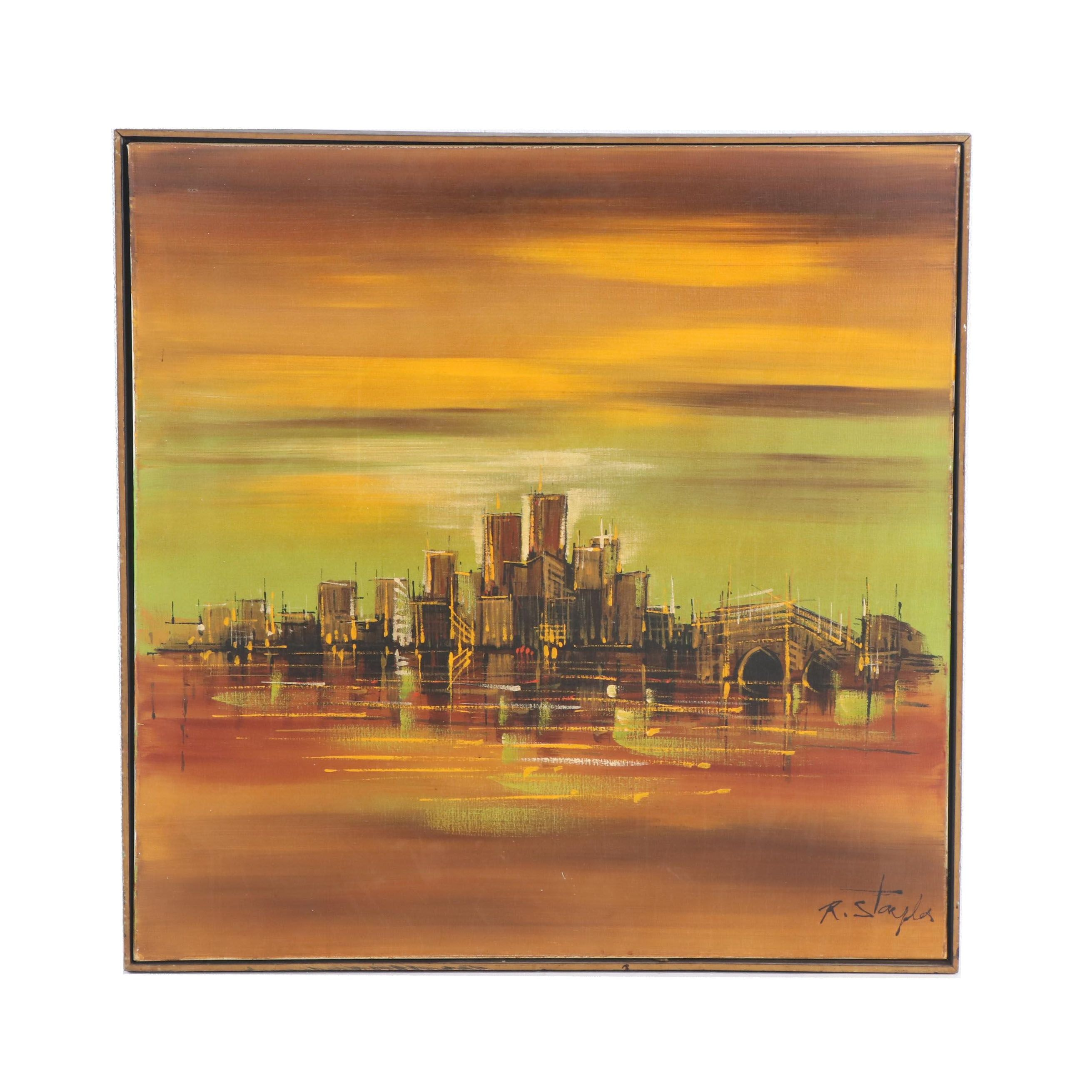 Acrylic Painting of City Skyline