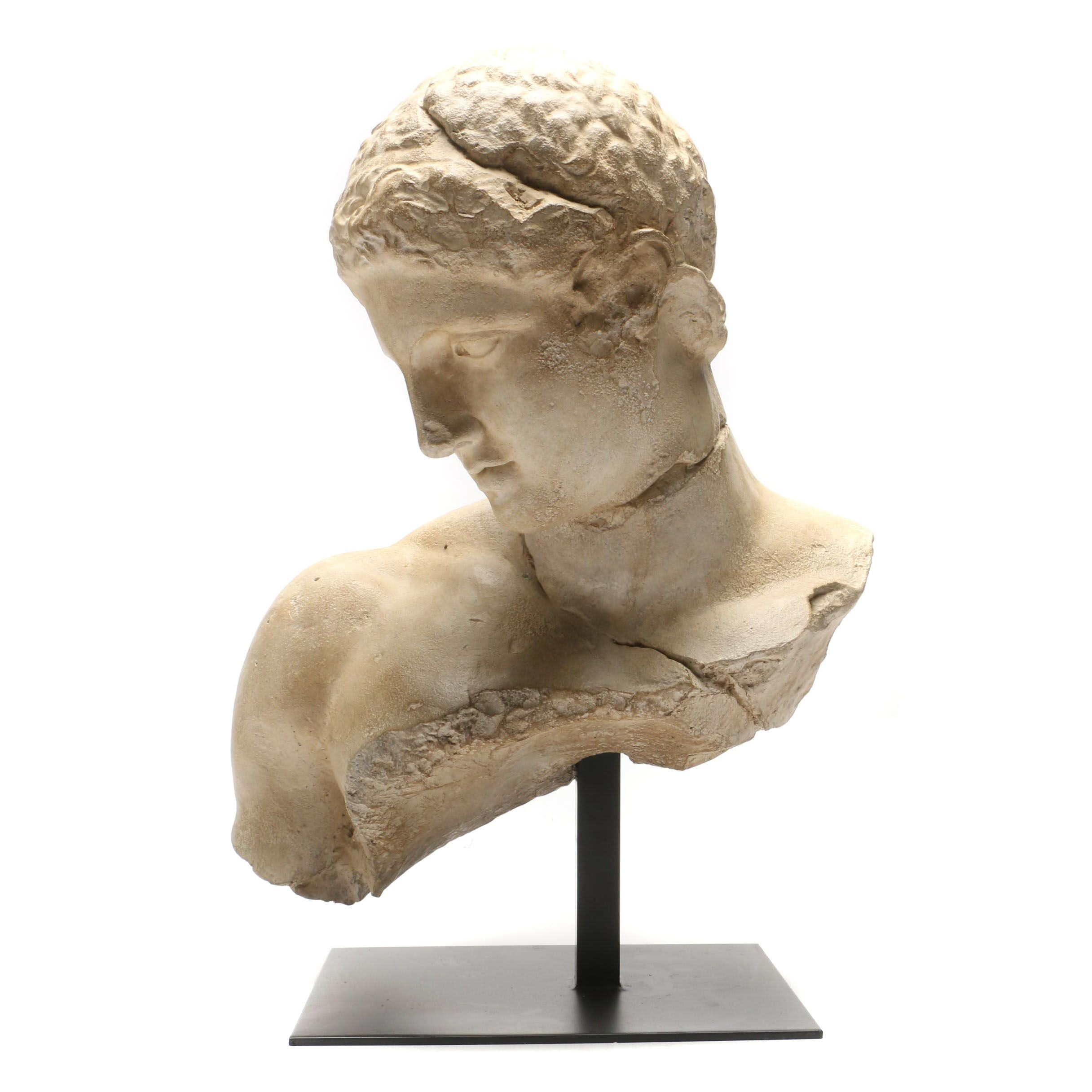 Classical Motif Figural Bust on Metal Stand