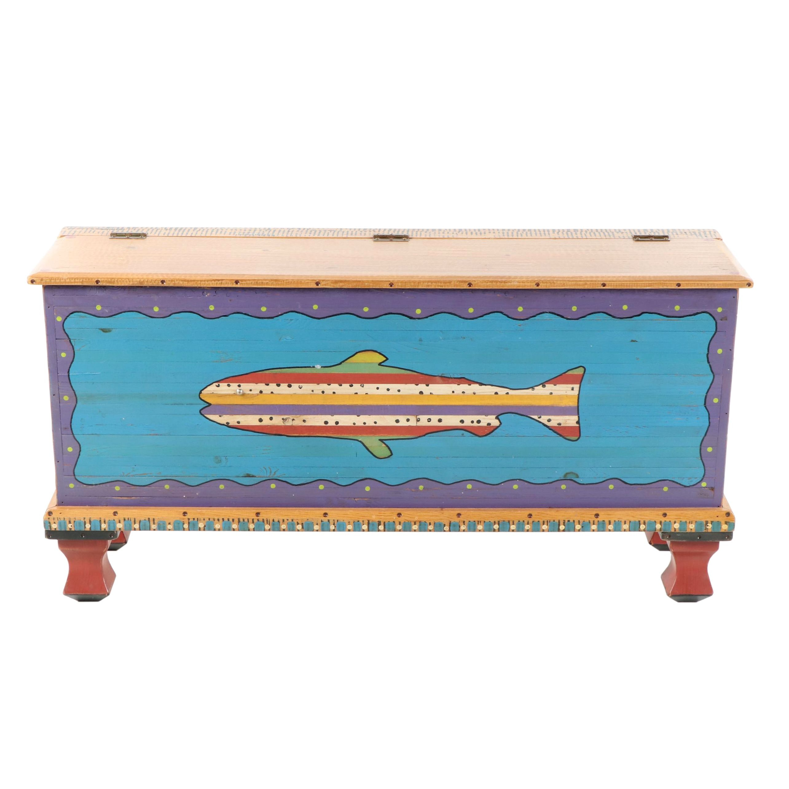 Contemporary Hand Painted Fish Trunk by Shoestring Creations