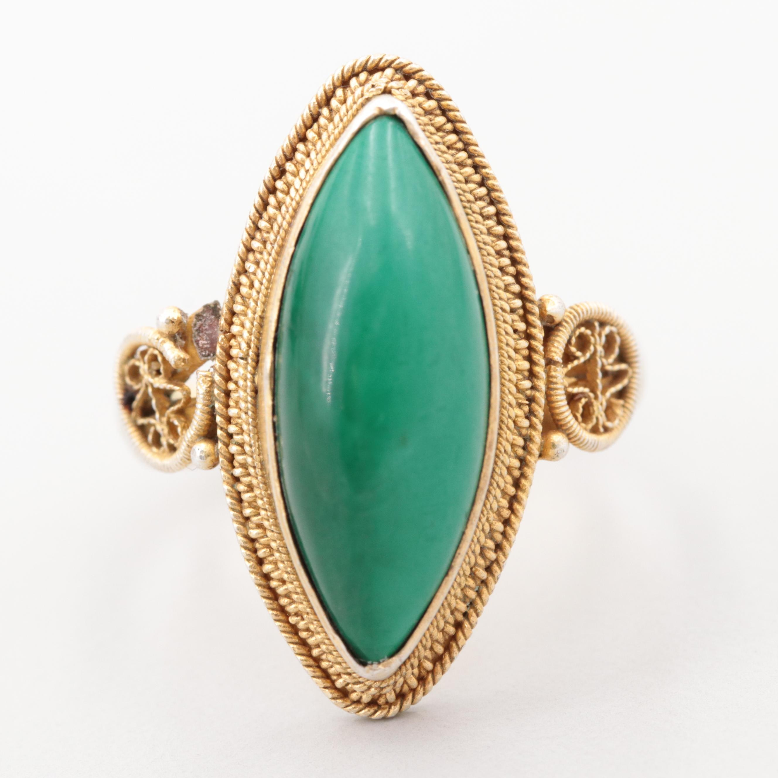 Gold Wash On Sterling Silver Malachite Ring