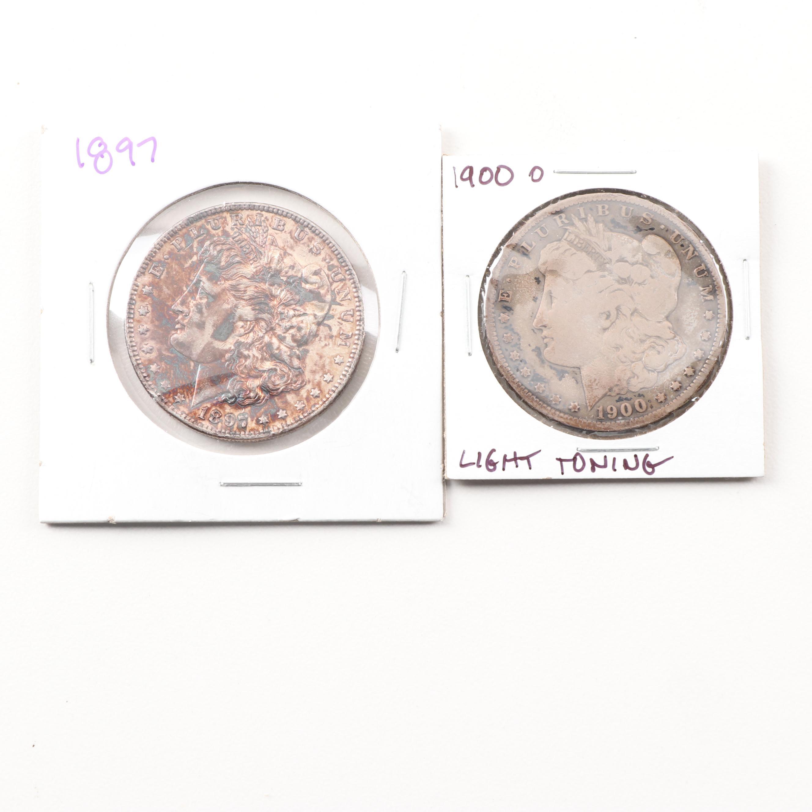 1897 and 1900 O Morgan Silver Dollars