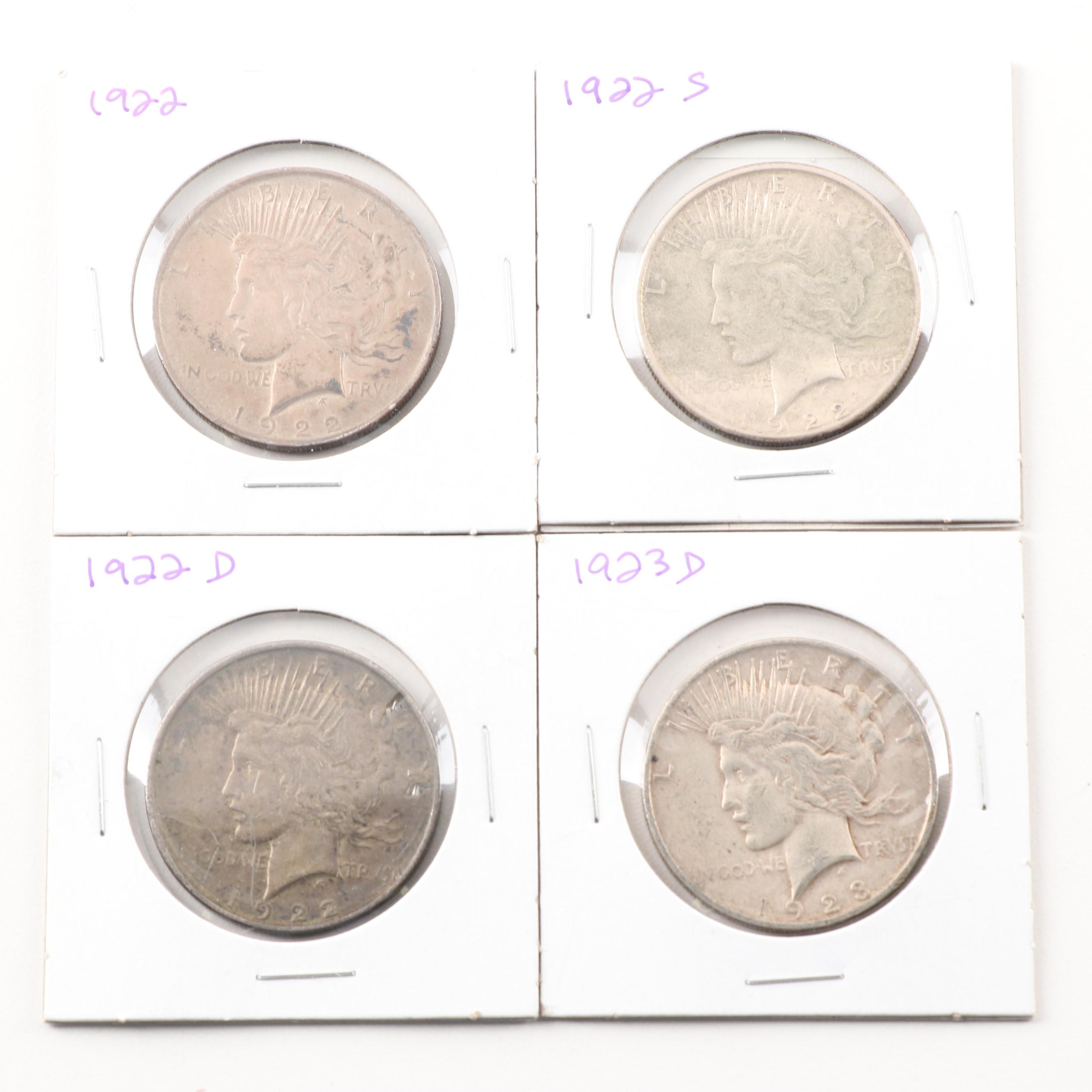1922, 1922 D, 1922 S, 1923 D Peace Silver Dollars