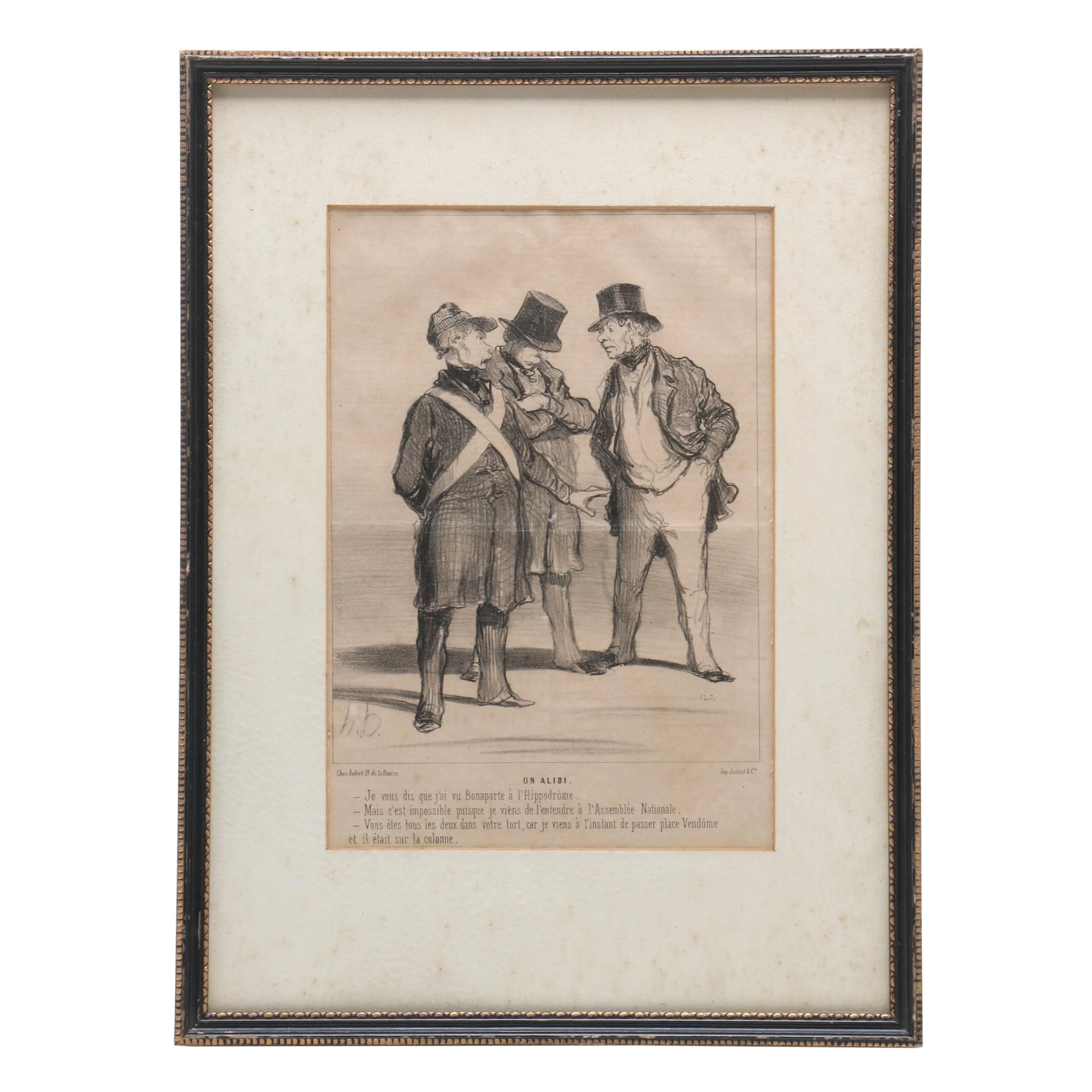 "Mid 19th Century Lithograph after Honoré Daumier ""Un Alibi"""