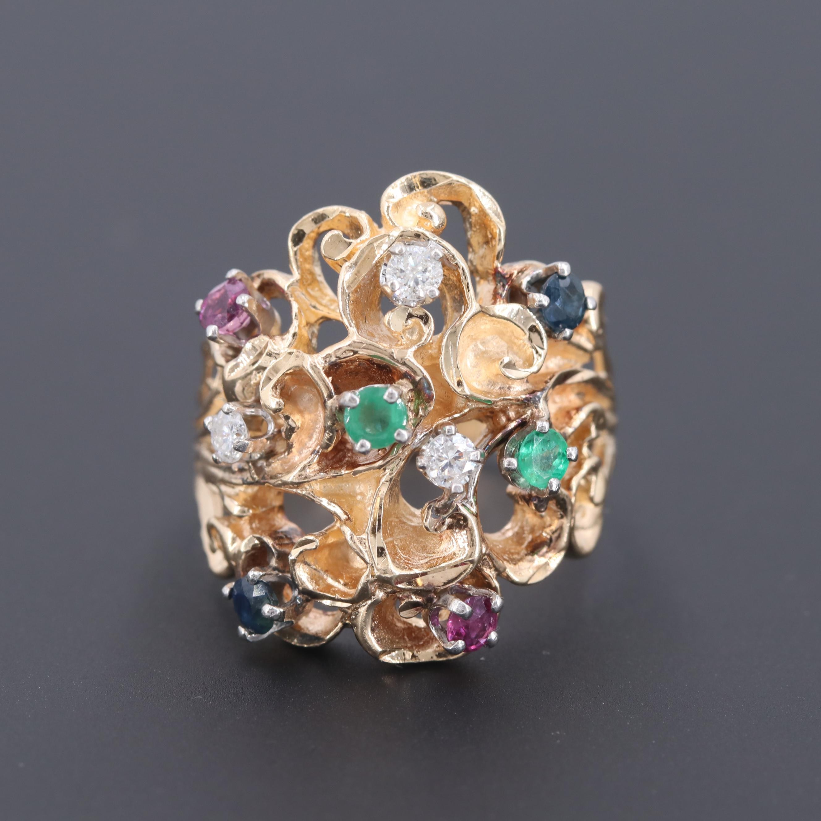14K Yellow Gold Blue Sapphire, Ruby, Emerald and Diamond Ring