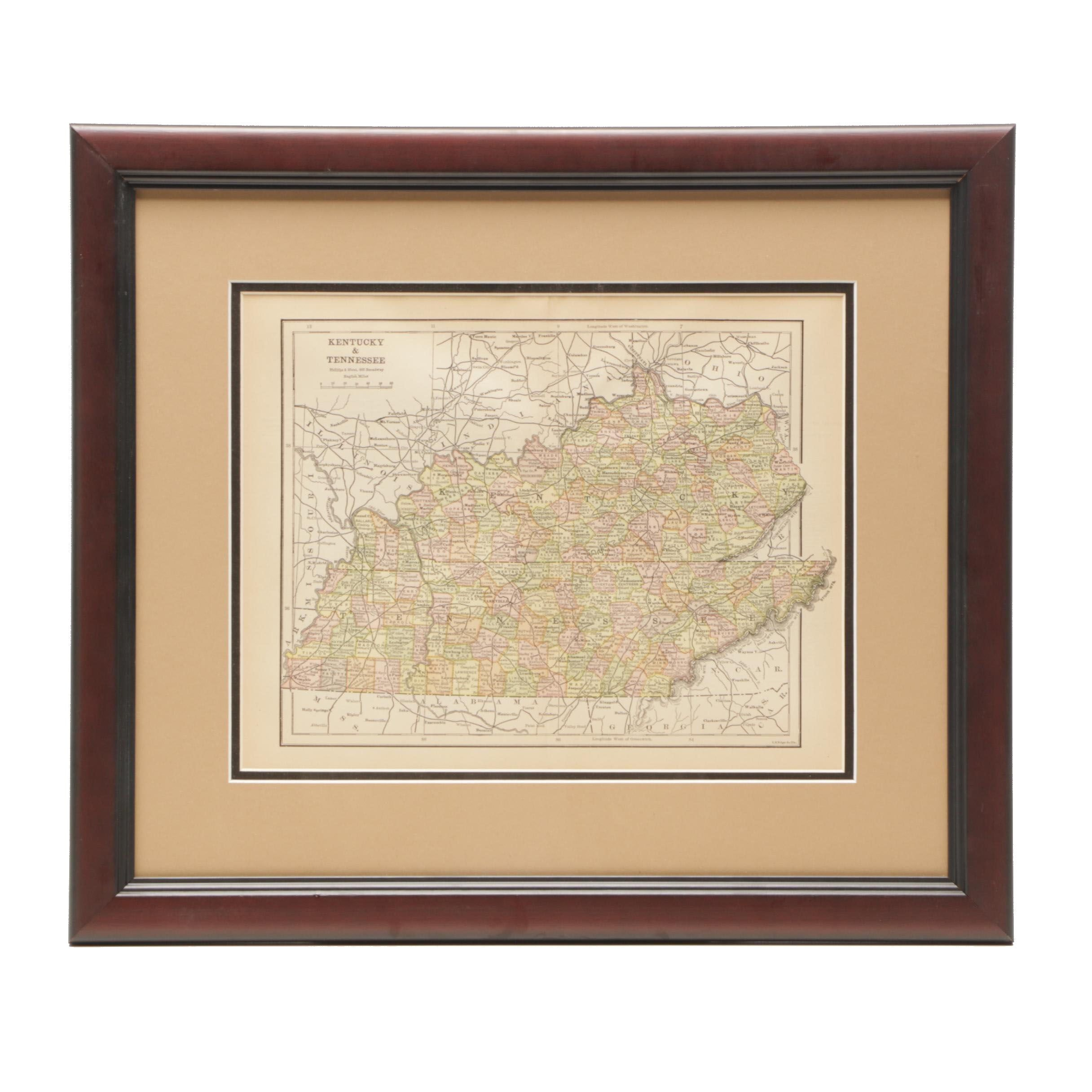 Antique Railroad Map of Kentucky and Tennessee
