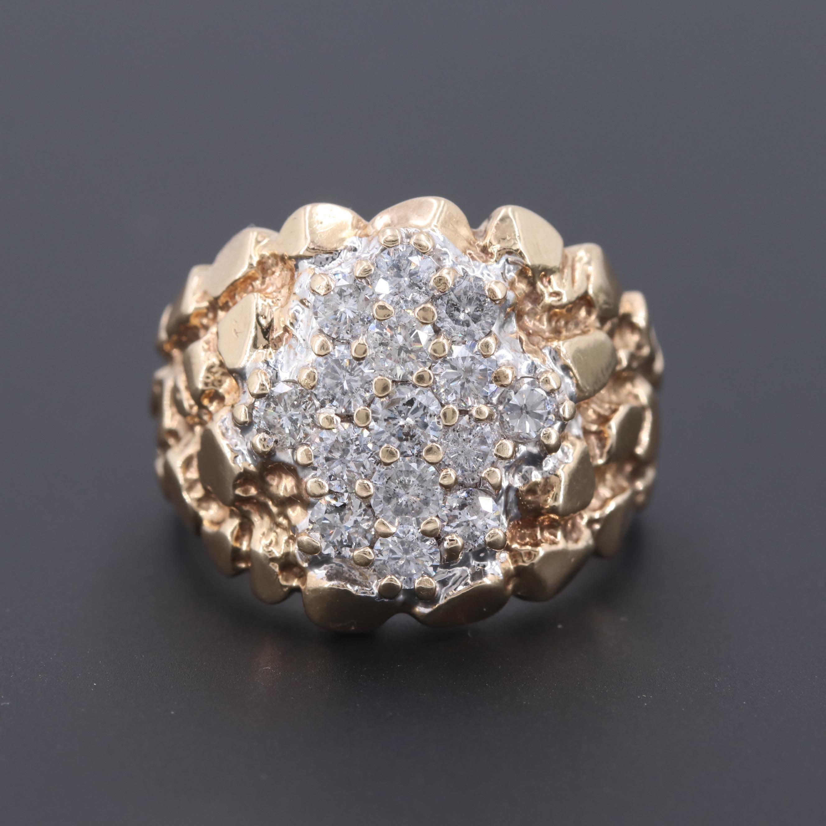 10K Yellow Gold 2.10 CTW Diamond Nugget Ring