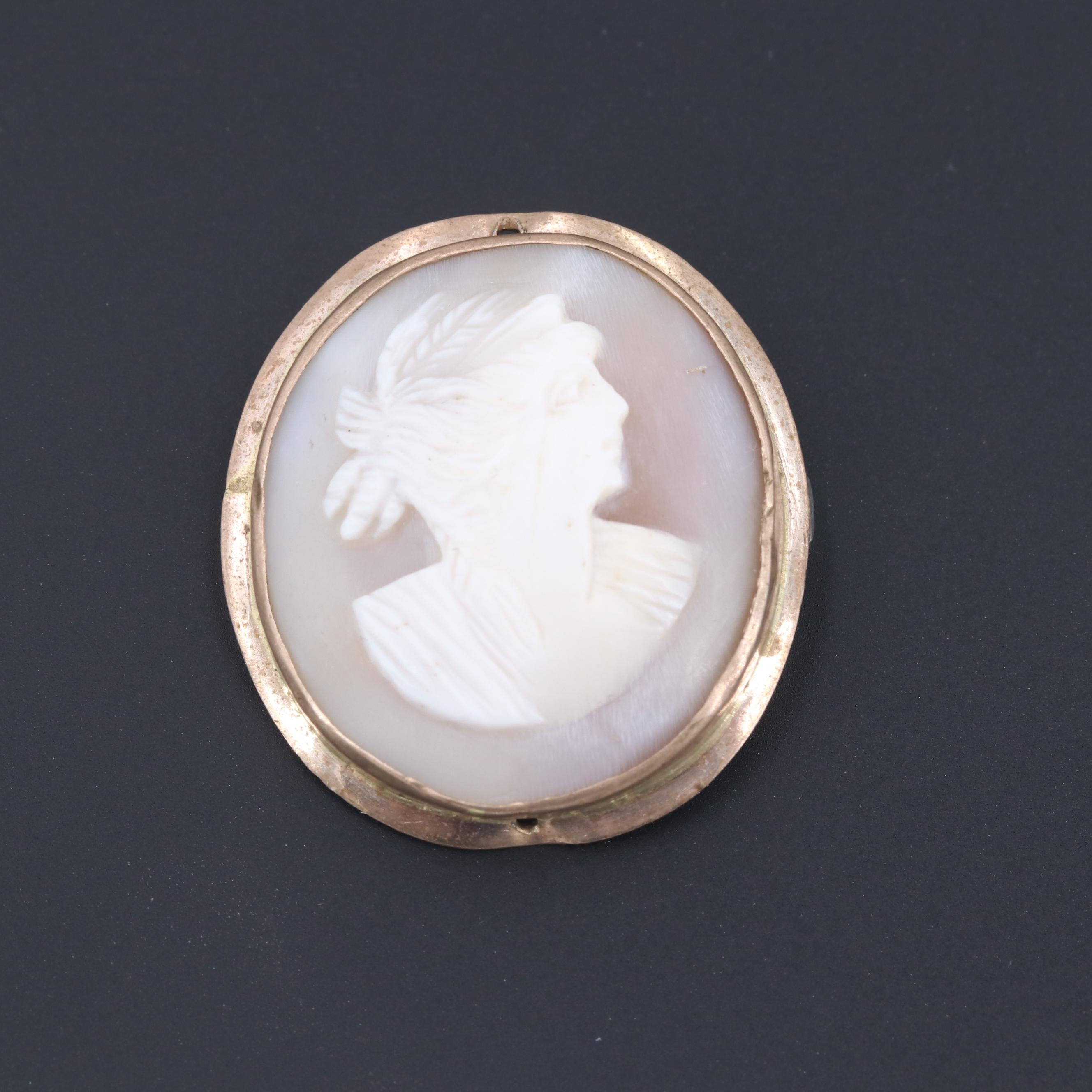Gold Tone Shell Cameo Brooch