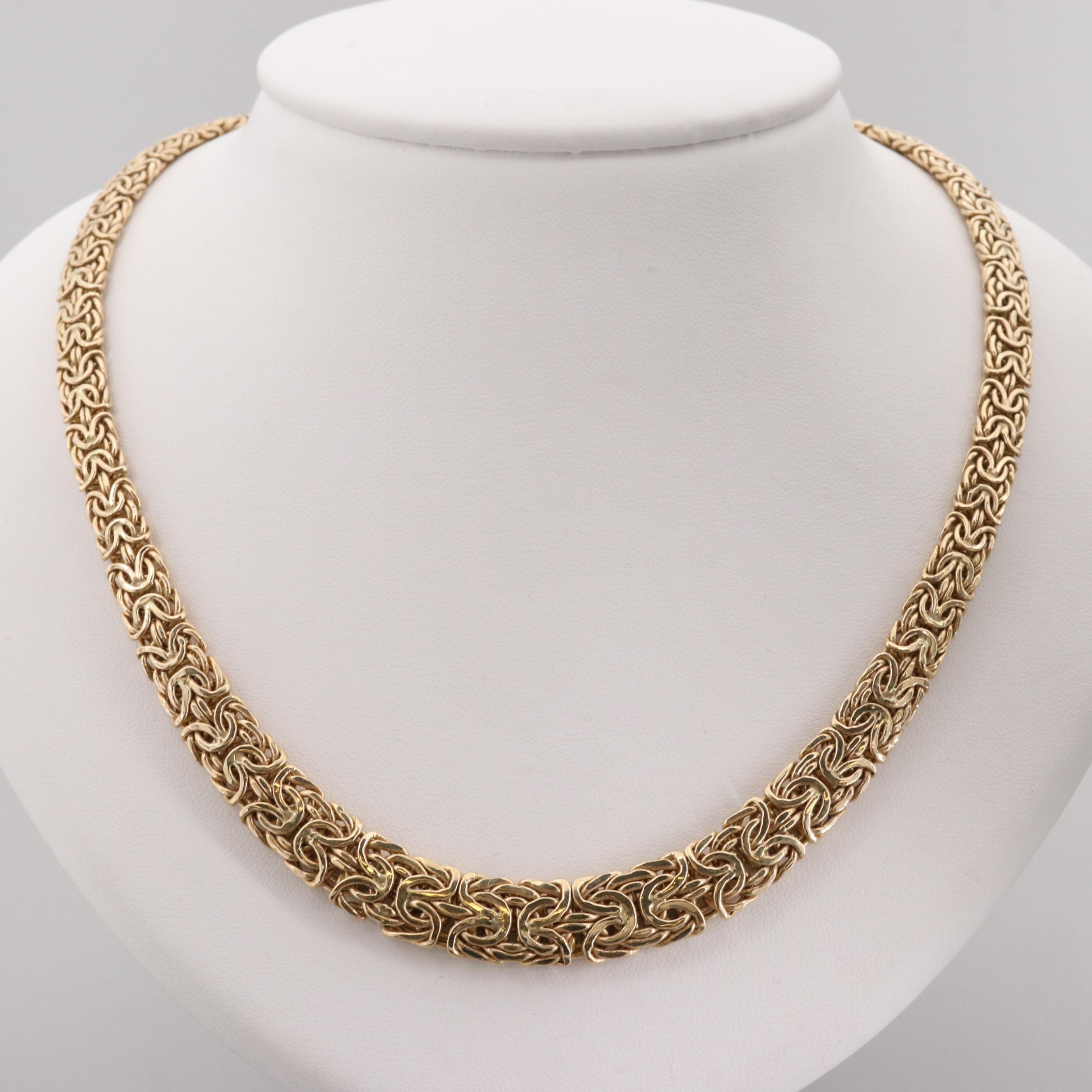 14K Yellow Gold Graduating Byzantine Necklace