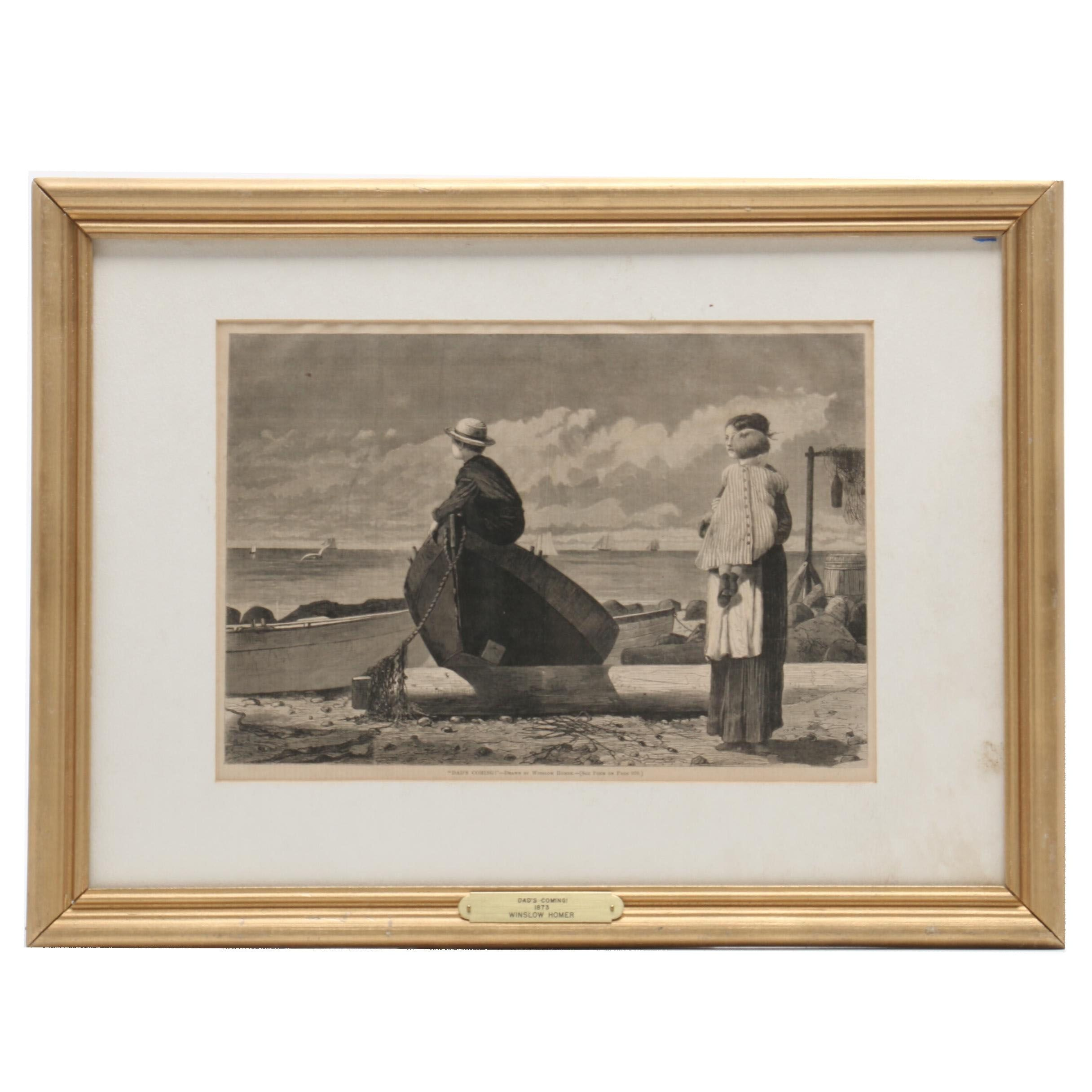 """Late 19th Century Wood Engraving after Winslow Homer """"Dad's Coming!"""""""