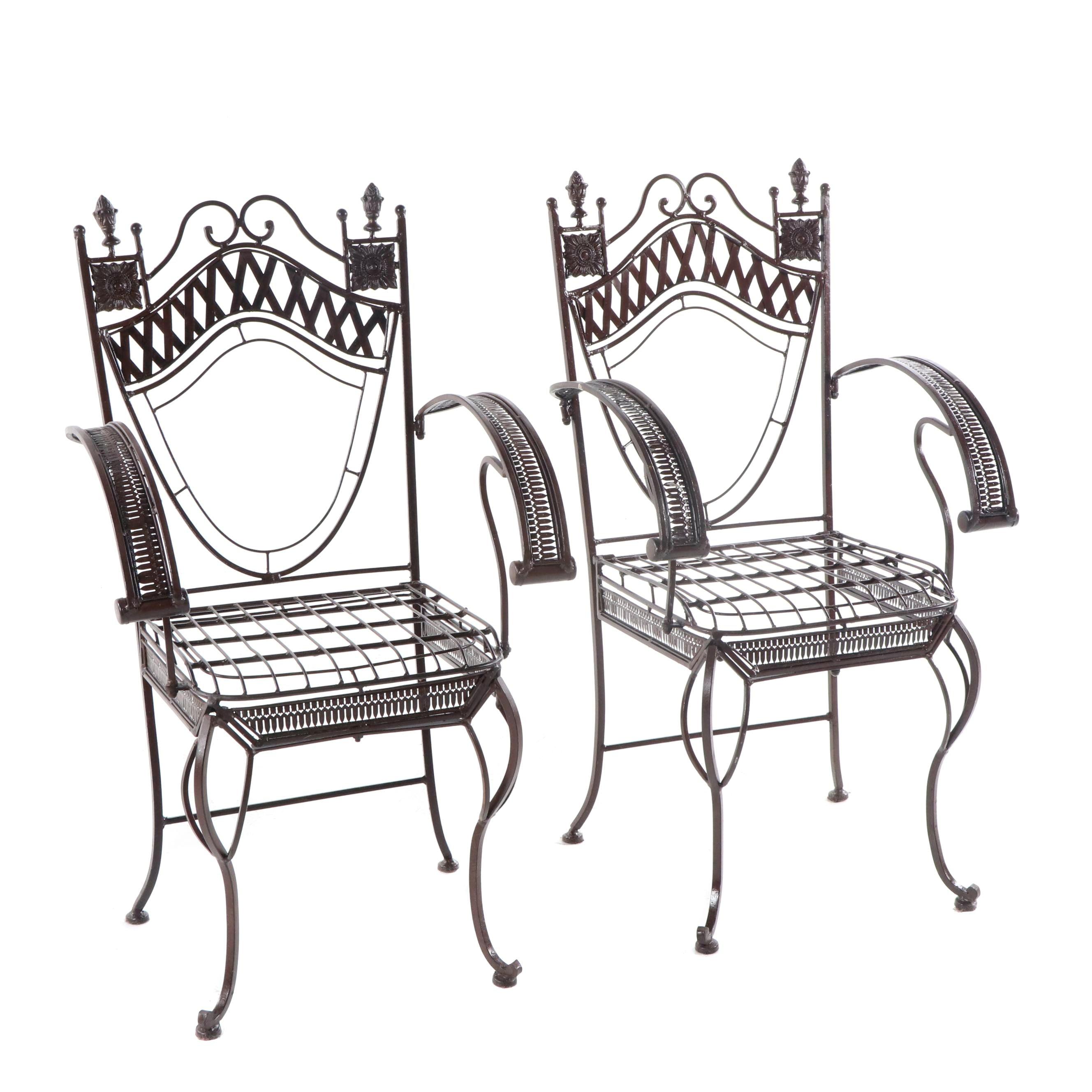 Italian Renaissance Style Metal Patio Armchairs, 21st Century